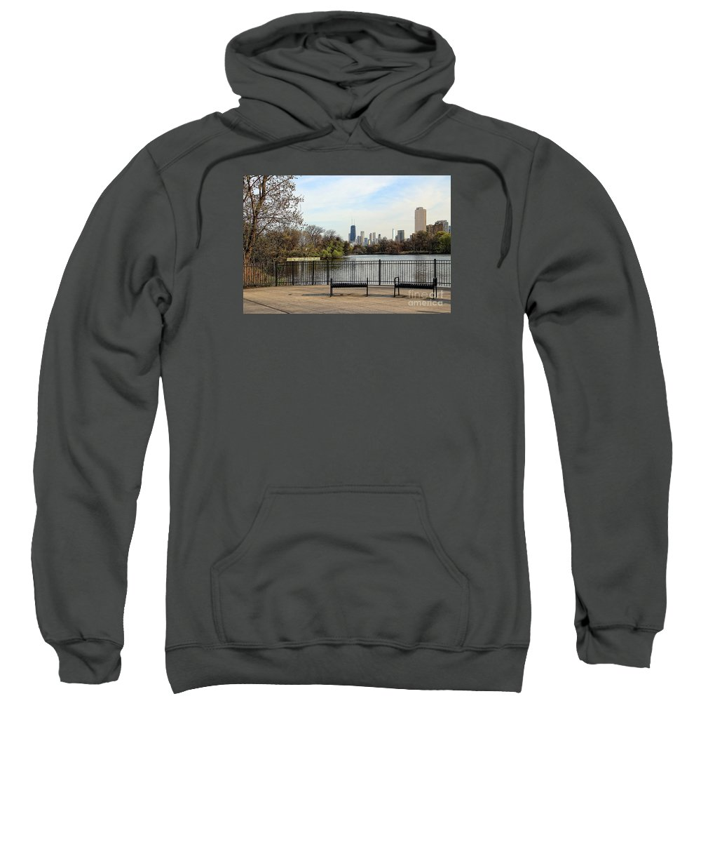 Photograph Sweatshirt featuring the photograph Chicago With Benches by Anna Sheradon