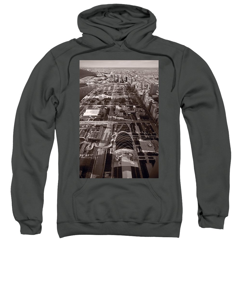 Aerial Sweatshirt featuring the photograph Chicagos Front Yard B W by Steve Gadomski