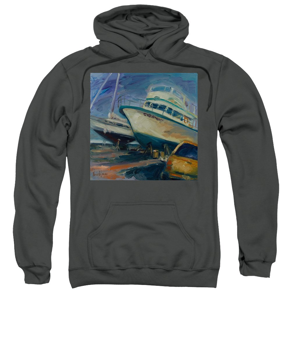 Boats Sweatshirt featuring the painting China Basin by Rick Nederlof