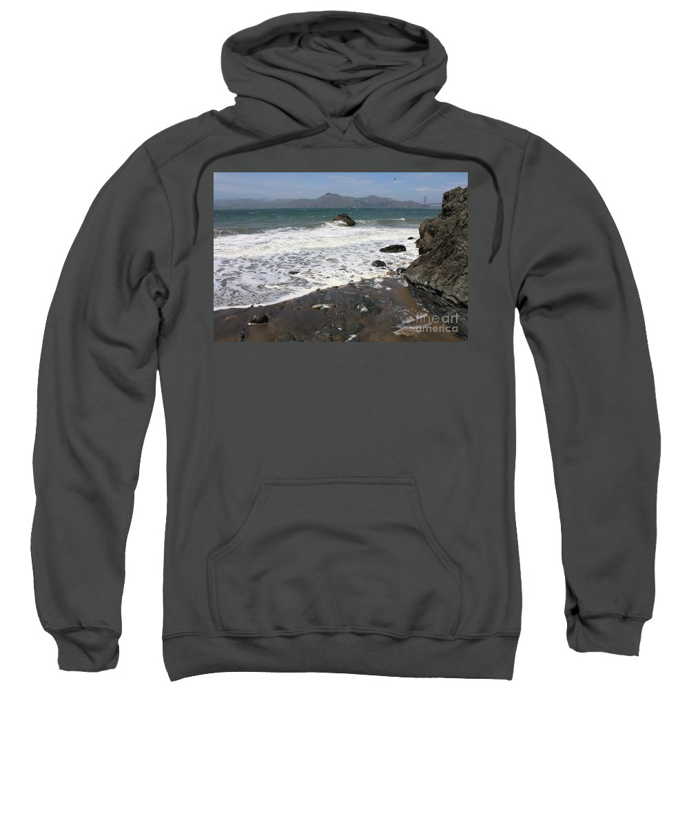 San Francisco Sweatshirt featuring the photograph China Beach With Outgoing Wave by Carol Groenen