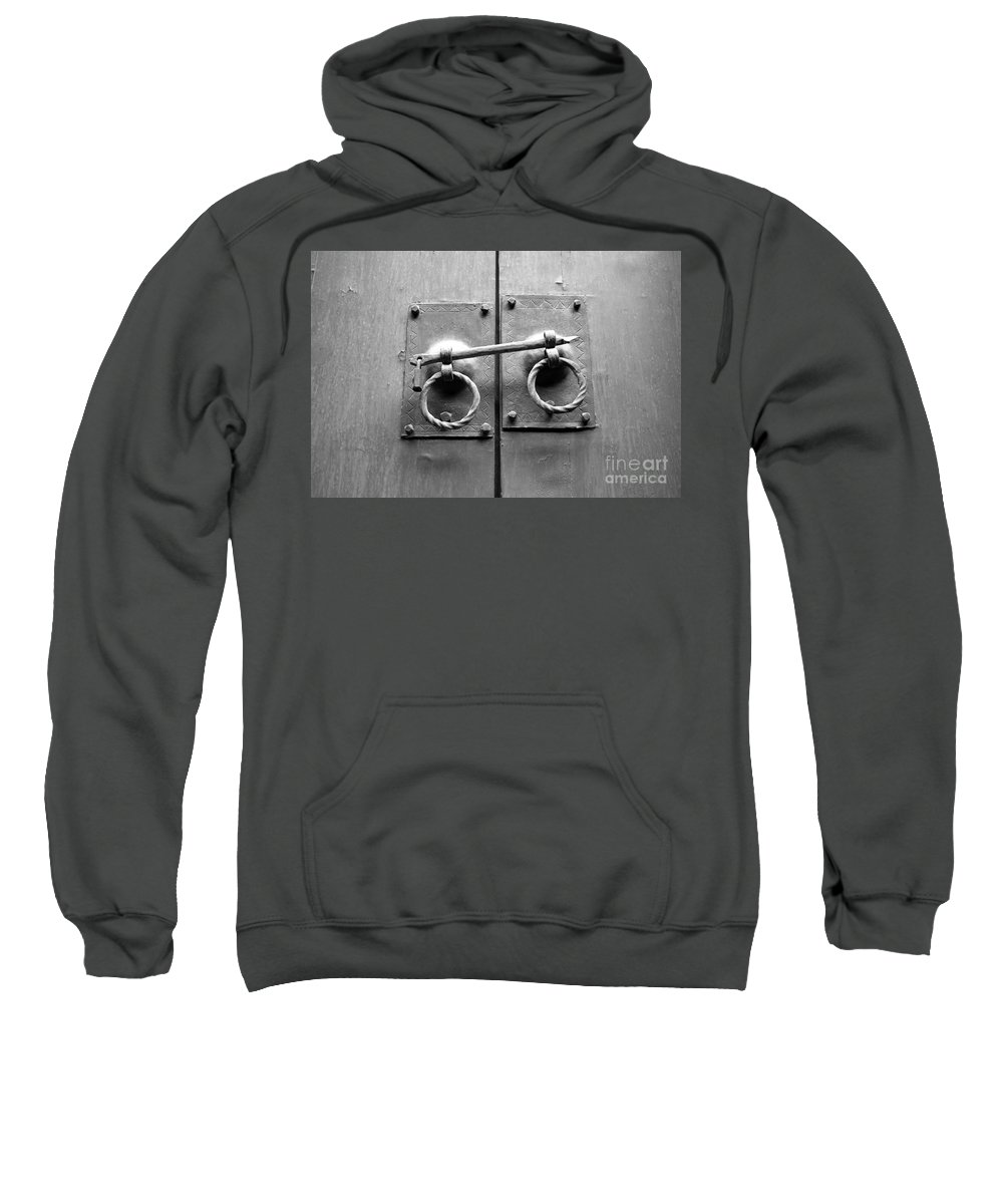 Door Sweatshirt featuring the photograph Chinese Door And Lock - Black And White by Carol Groenen