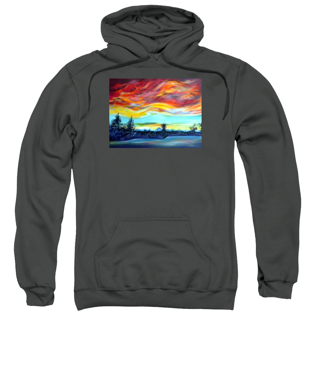 Acrylic Sweatshirt featuring the painting Chinook Arch Over Bow River by Anna Duyunova