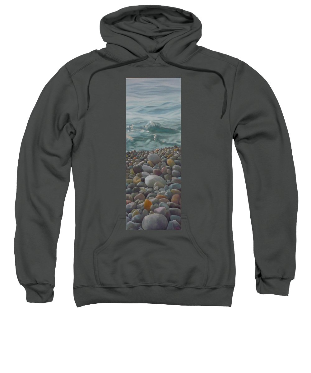 Sea Oil Pebbles Beach Stones Sweatshirt featuring the painting Chios Pebbles by Caroline Philp