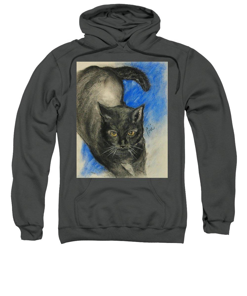 Cat Sweatshirt featuring the drawing Chloe by Cori Solomon
