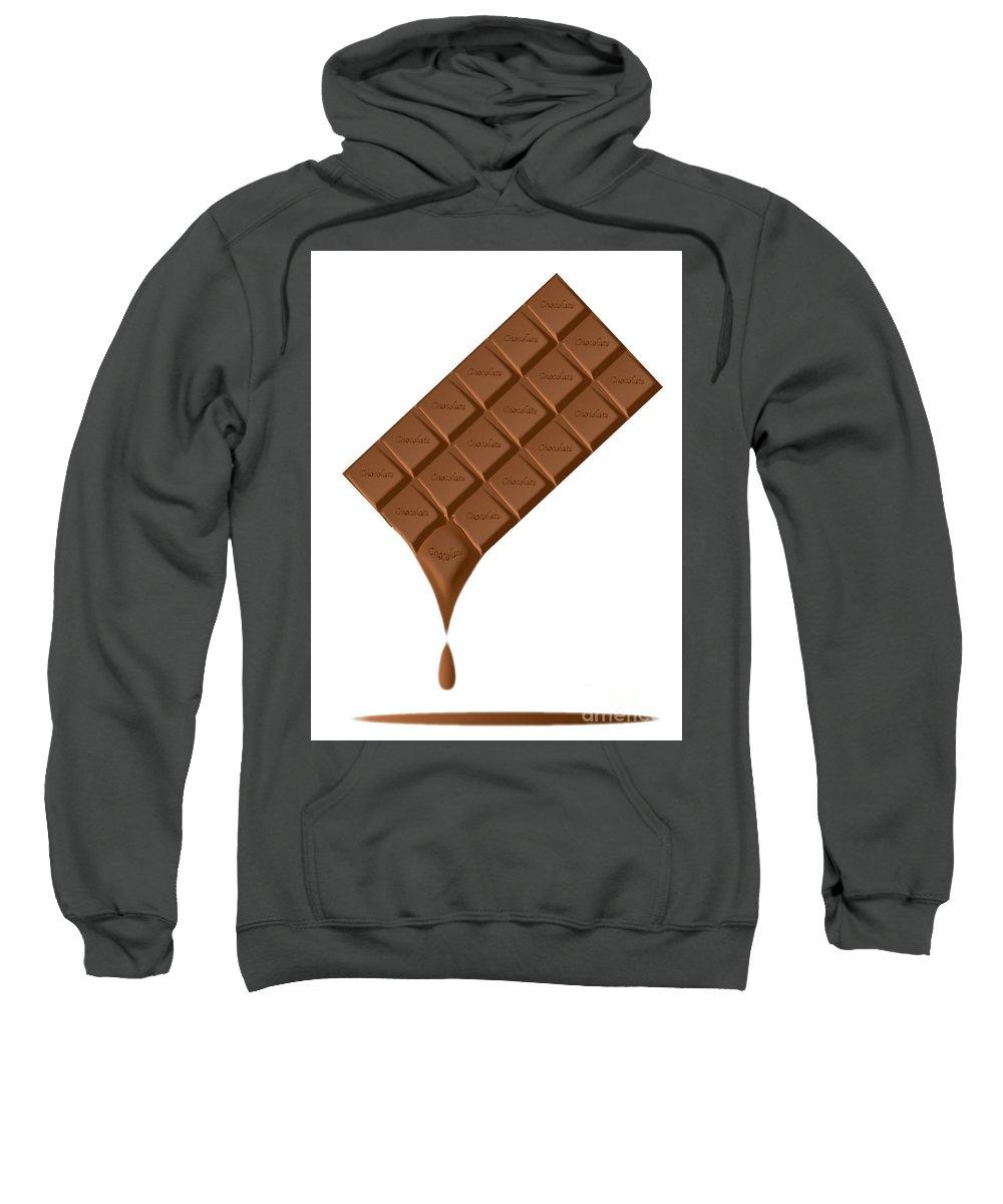 Chocolate Sweatshirt featuring the digital art Chocolate Bar Melting by Bigalbaloo Stock