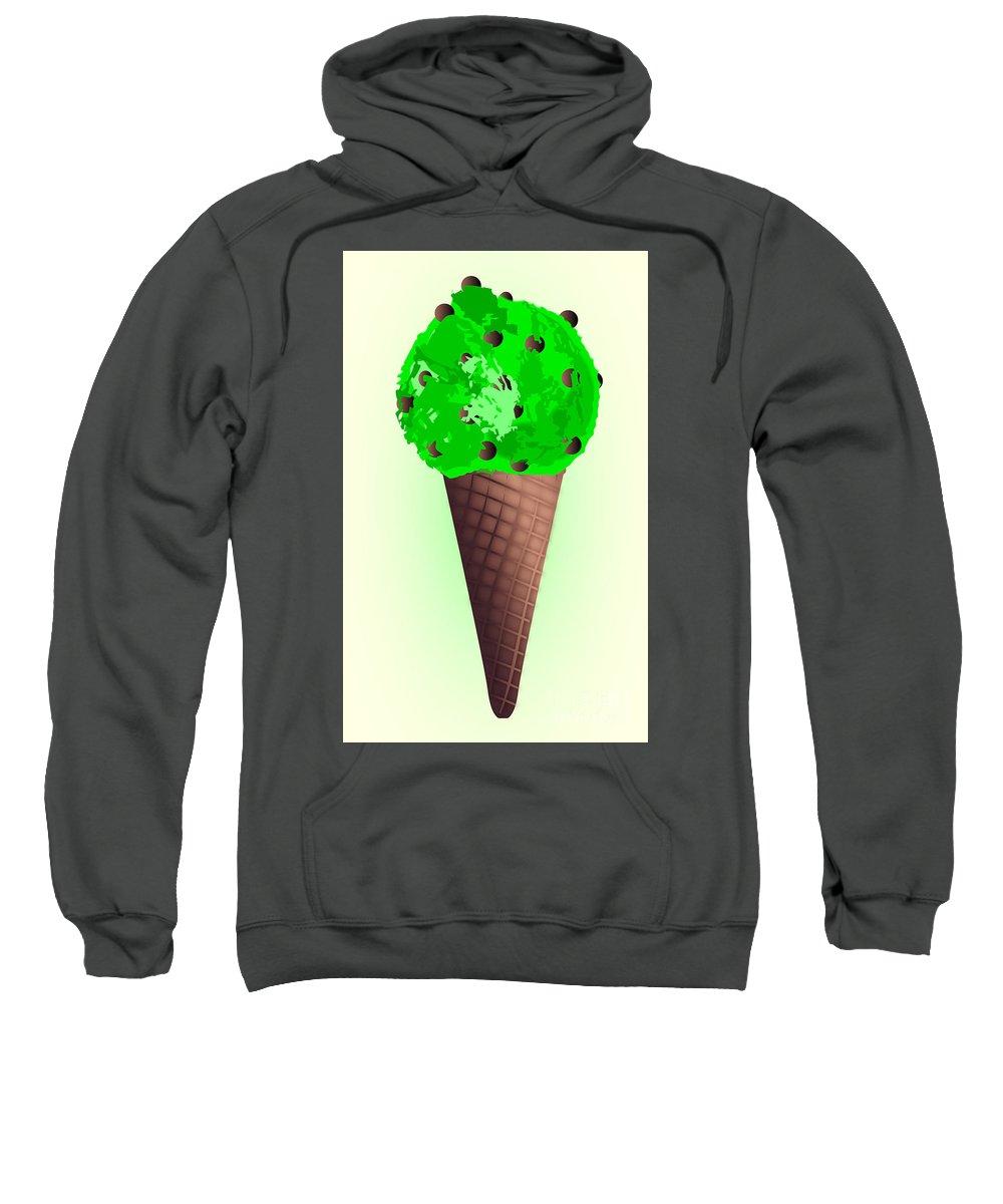 Ice Sweatshirt featuring the digital art Chocolate Chip Mint Ice Cream Cones by Bigalbaloo Stock