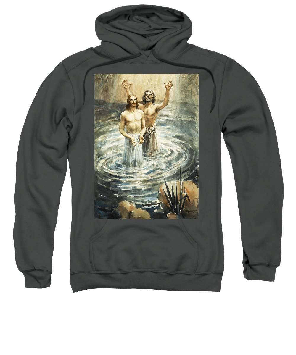 Christ; Jesus; Bible; John The Baptist; Water; Ripples Sweatshirt featuring the painting Christ Being Baptised by Henry Coller