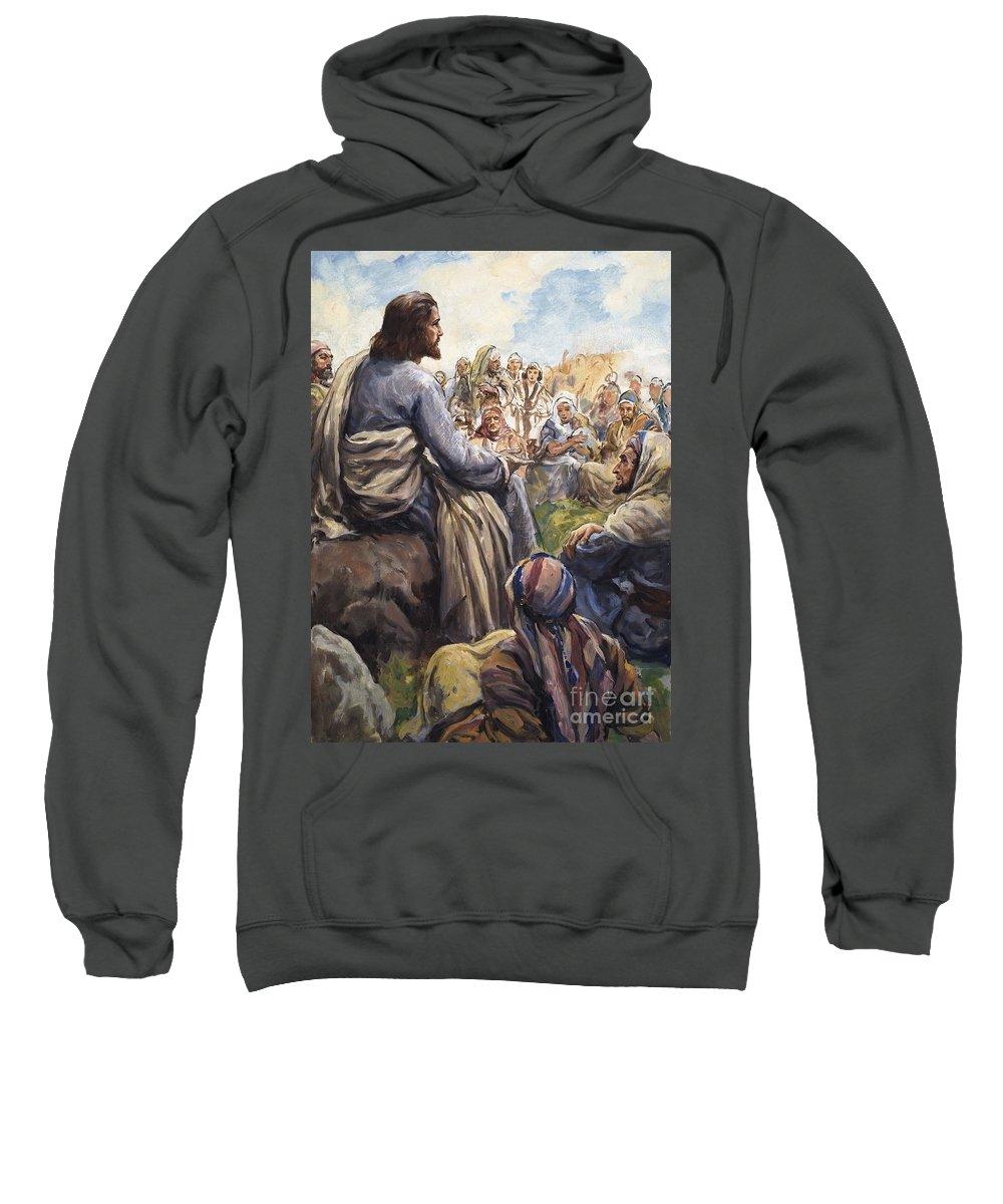 Christ; Jesus; Teaching; Disciples; Stone; Attentive; Children; Men; Women; Bible; Biblical Sweatshirt featuring the painting Christ Teaching by English School
