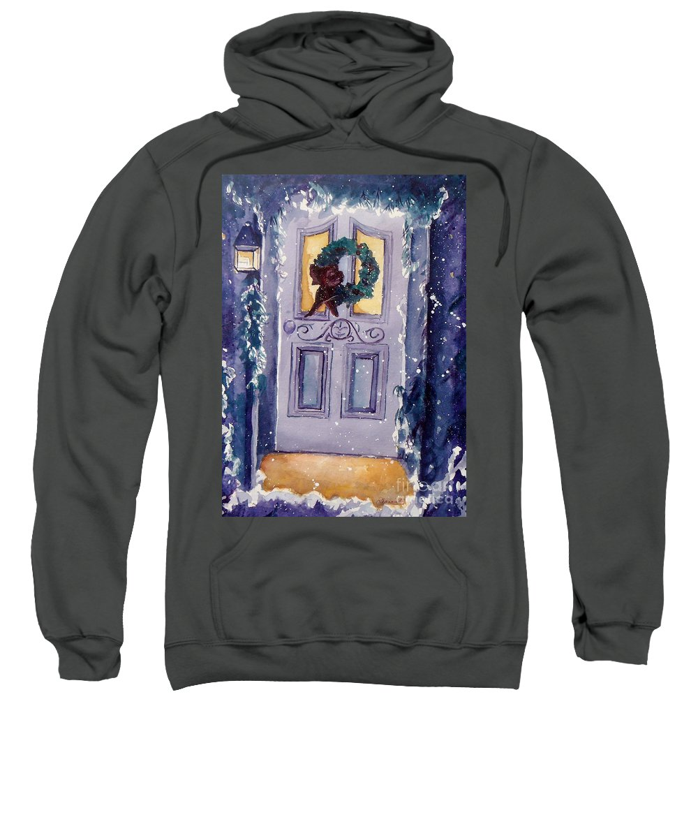Holiday Scene Sweatshirt featuring the painting Christmas Eve by Jan Bennicoff