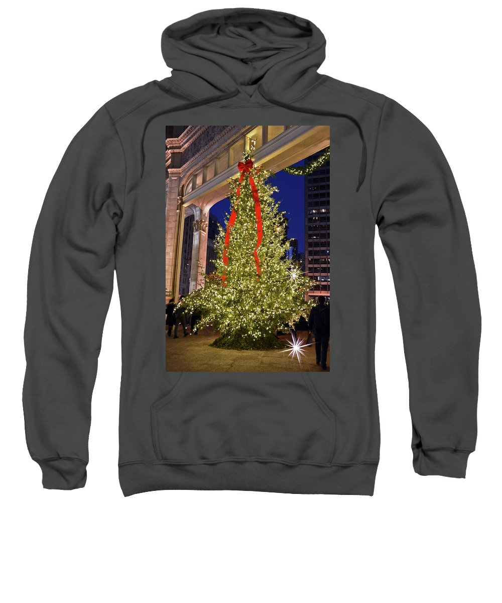 Christmas Sweatshirt featuring the photograph Christmas In Chicago by M Bernardo