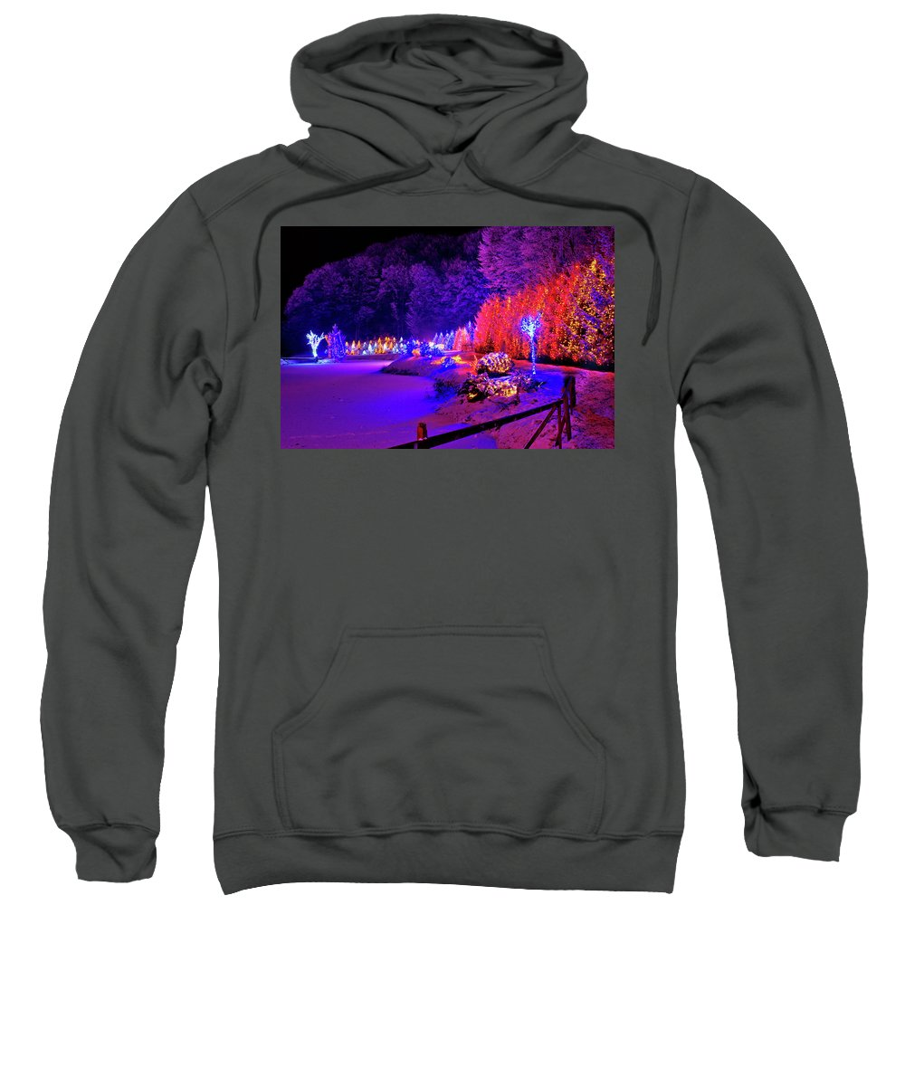 Christmas Sweatshirt featuring the photograph Christmas Trees Row And Frozen Lake View by Brch Photography