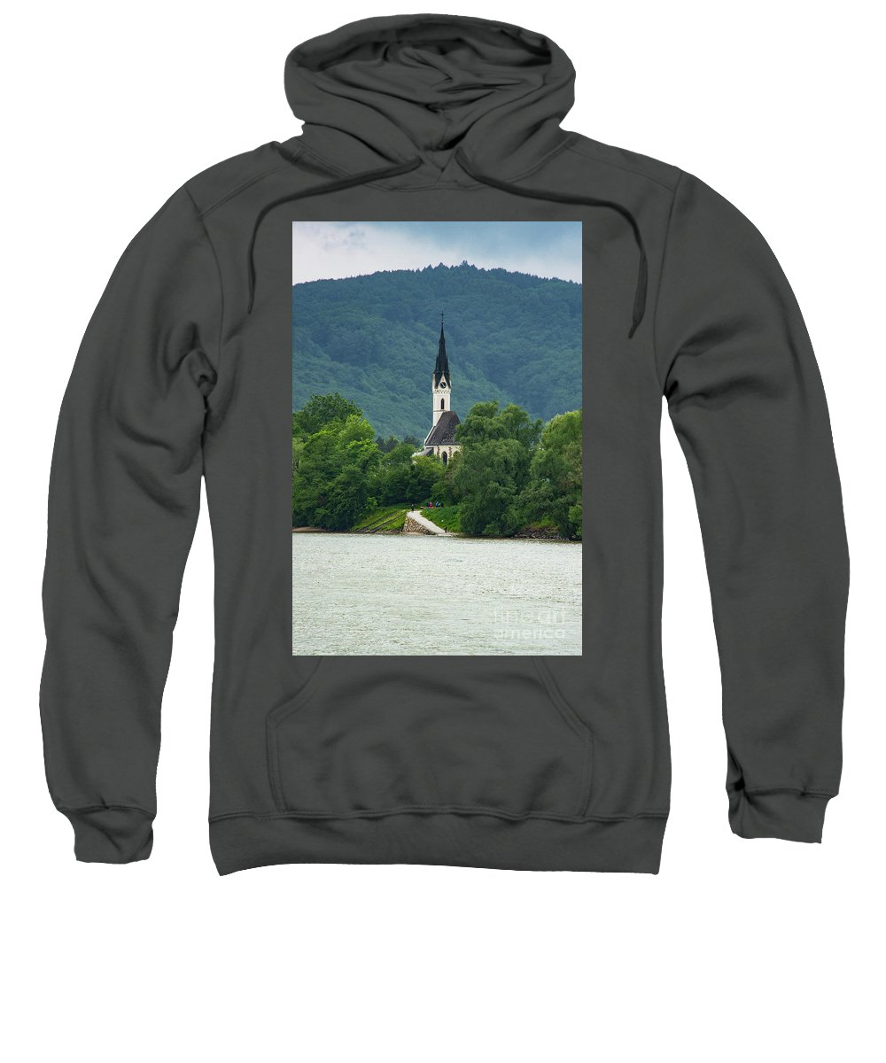 Danube River Austria Church Churches Landscape Landscapes Rivers Water Place Of Worship Places Of Worship Architecture Building Buildings Structure Structures Sweatshirt featuring the photograph Church By The Danube by Bob Phillips