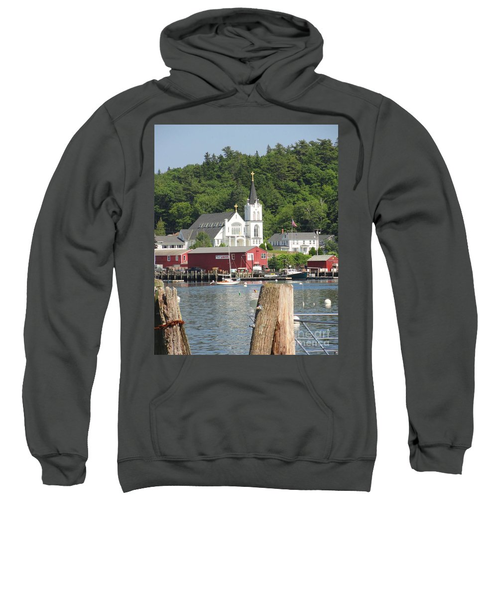 Maine Sweatshirt featuring the photograph Church In Boothbay by Meandering Photography
