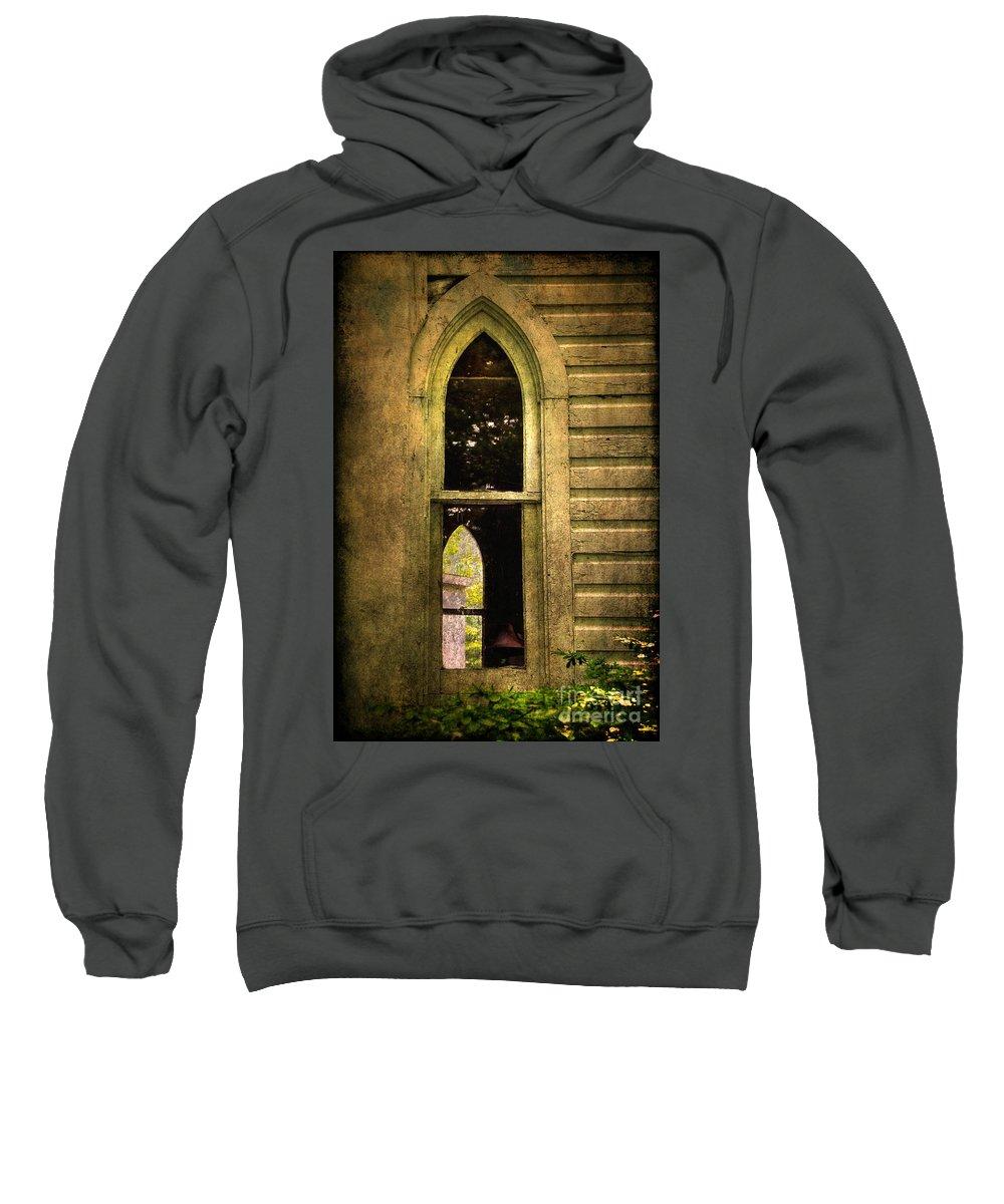 Church Sweatshirt featuring the photograph Church Window Church Bell by Lois Bryan