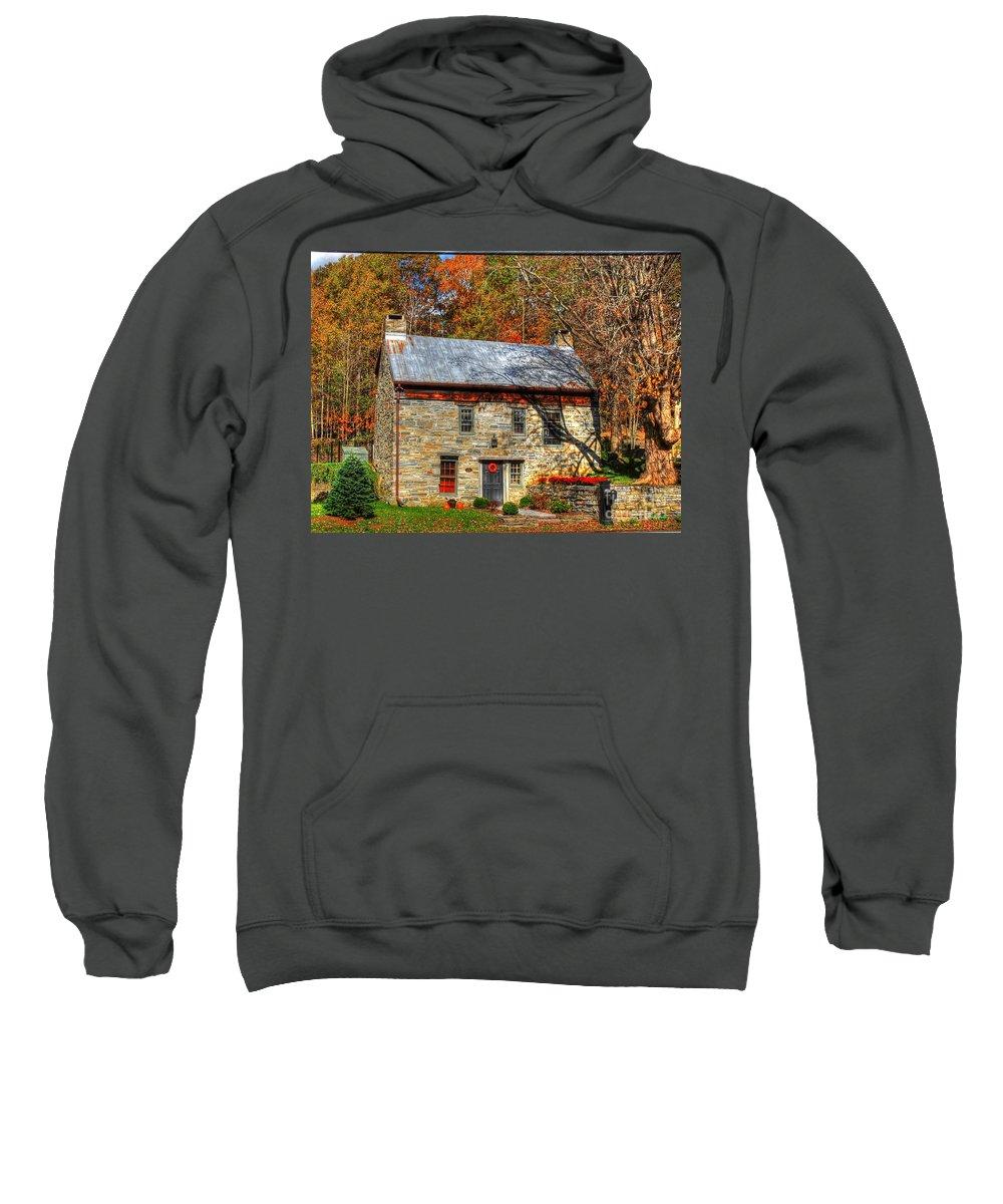 Stone Sweatshirt featuring the photograph Circa 1776 Stone House by Linda Covino
