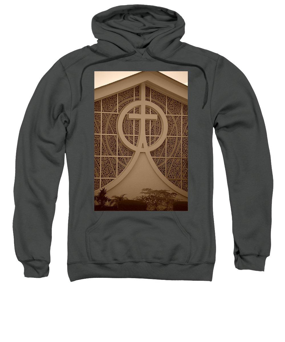 Sepia Sweatshirt featuring the photograph Circle T Church by Rob Hans