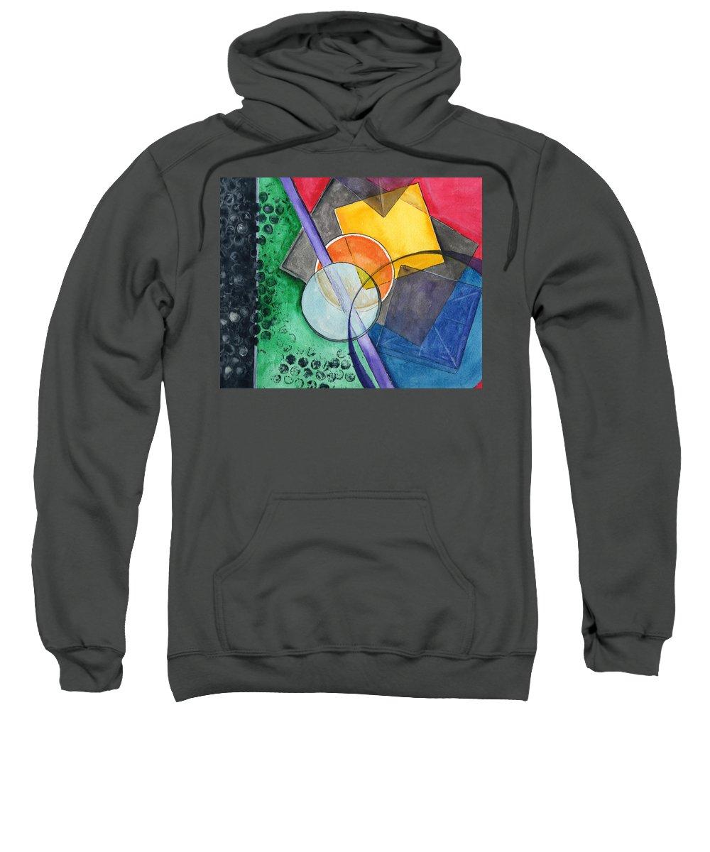 Watercolor Sweatshirt featuring the painting Circular Confusion by Brenda Owen