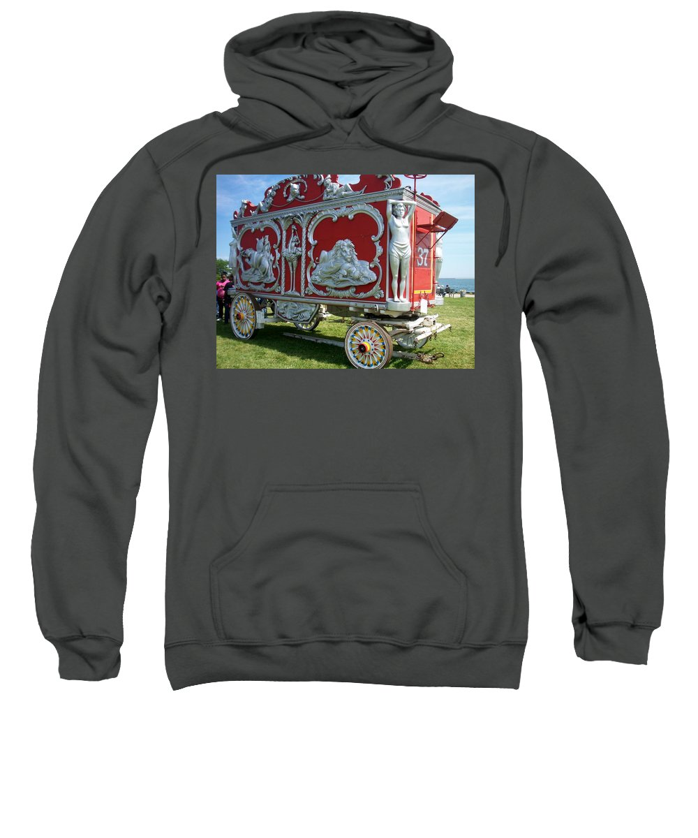 Circus Sweatshirt featuring the photograph Circus Car In Red And Silver by Anita Burgermeister