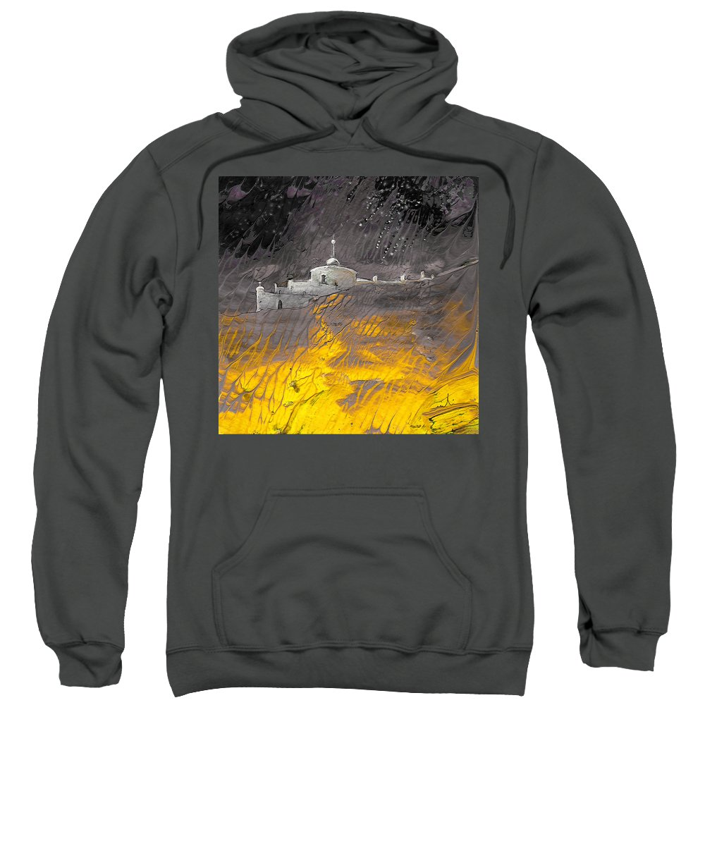 Landscapes Sweatshirt featuring the painting Citadelle Andalouse Bis by Miki De Goodaboom