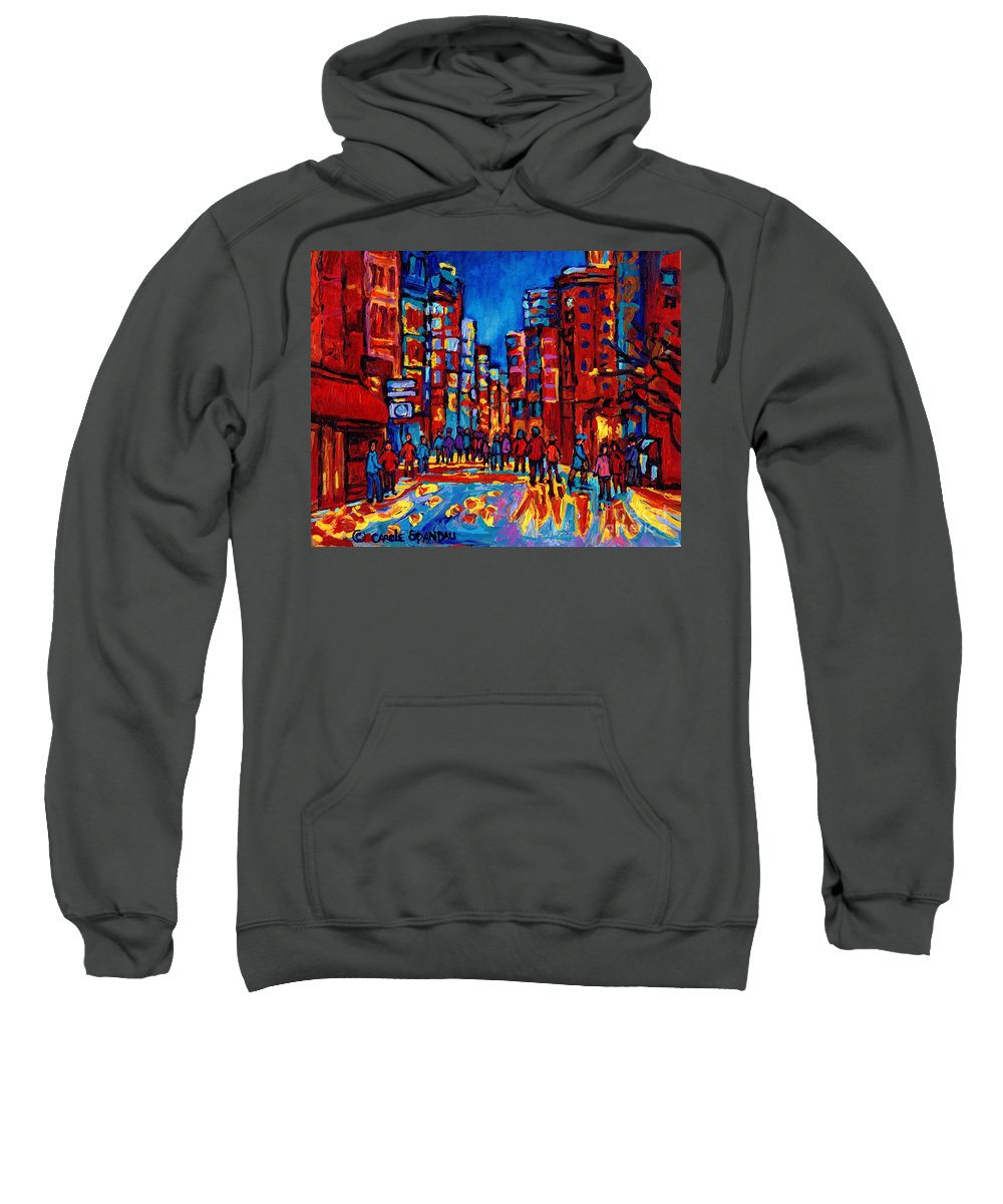 Montreal Sweatshirt featuring the painting City After The Rain by Carole Spandau