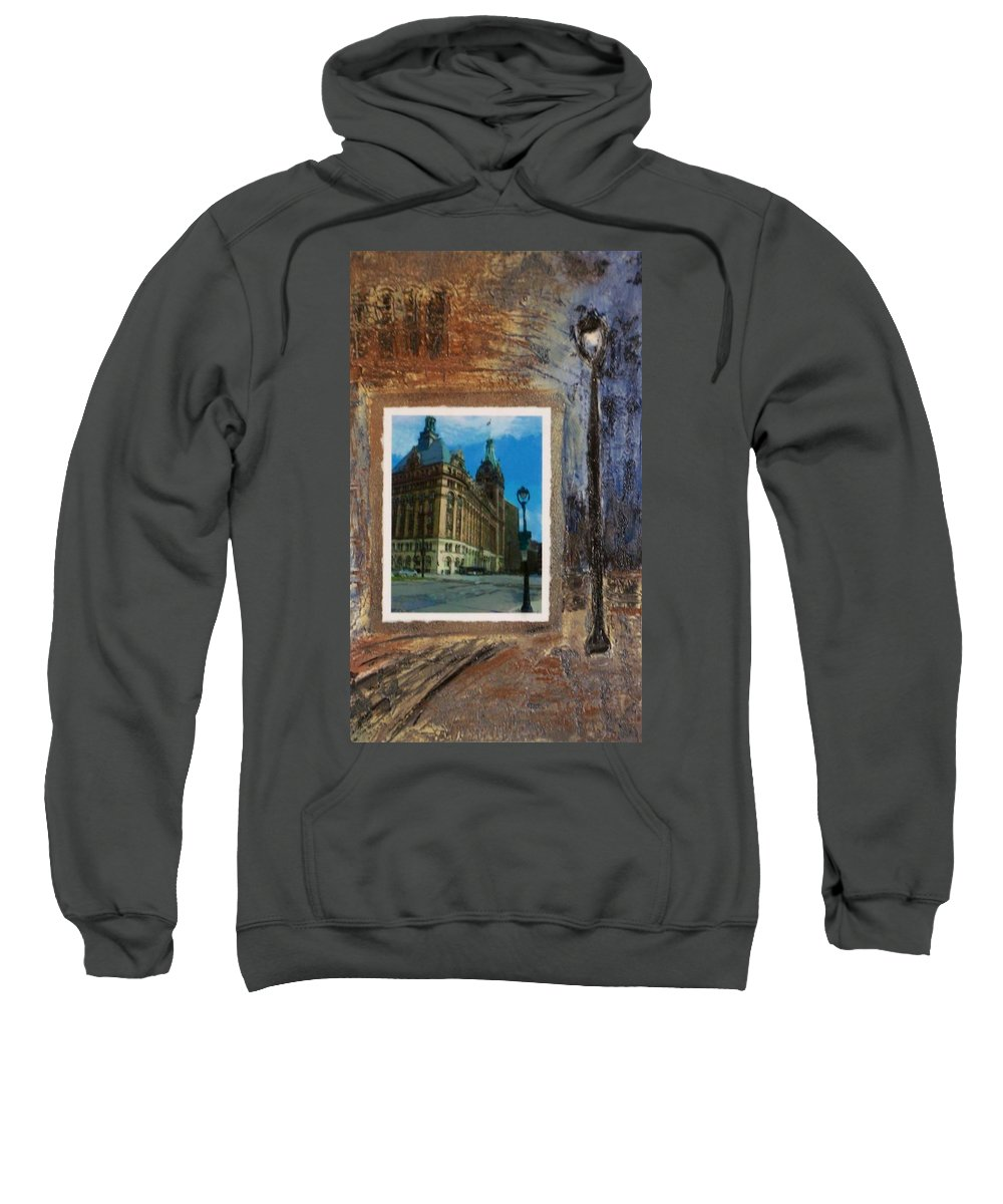 City Hall Sweatshirt featuring the mixed media City Hall And Street Lamp by Anita Burgermeister