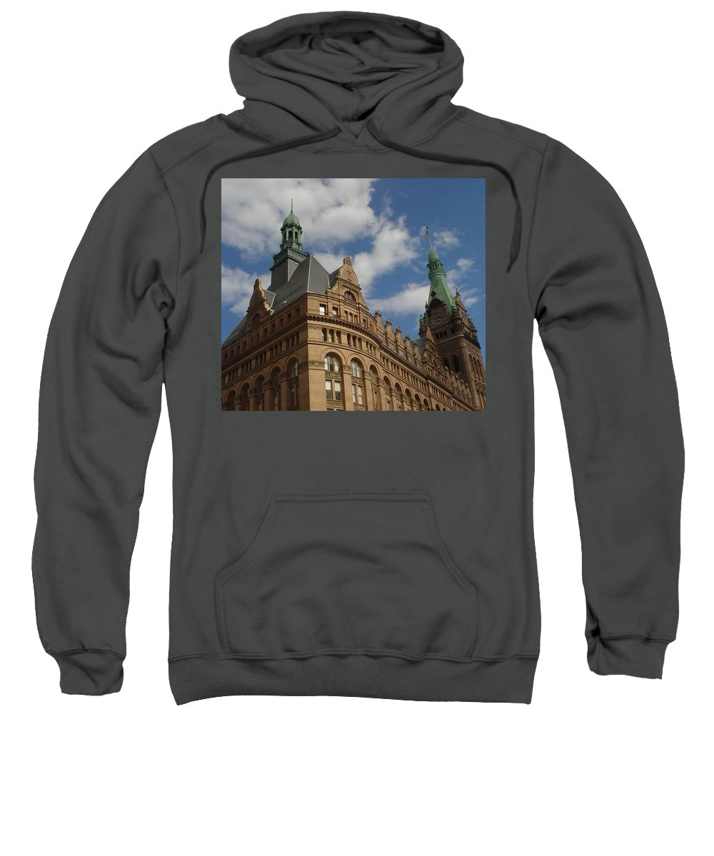 Milwaukee Sweatshirt featuring the photograph City Hall Roof And Tower by Anita Burgermeister