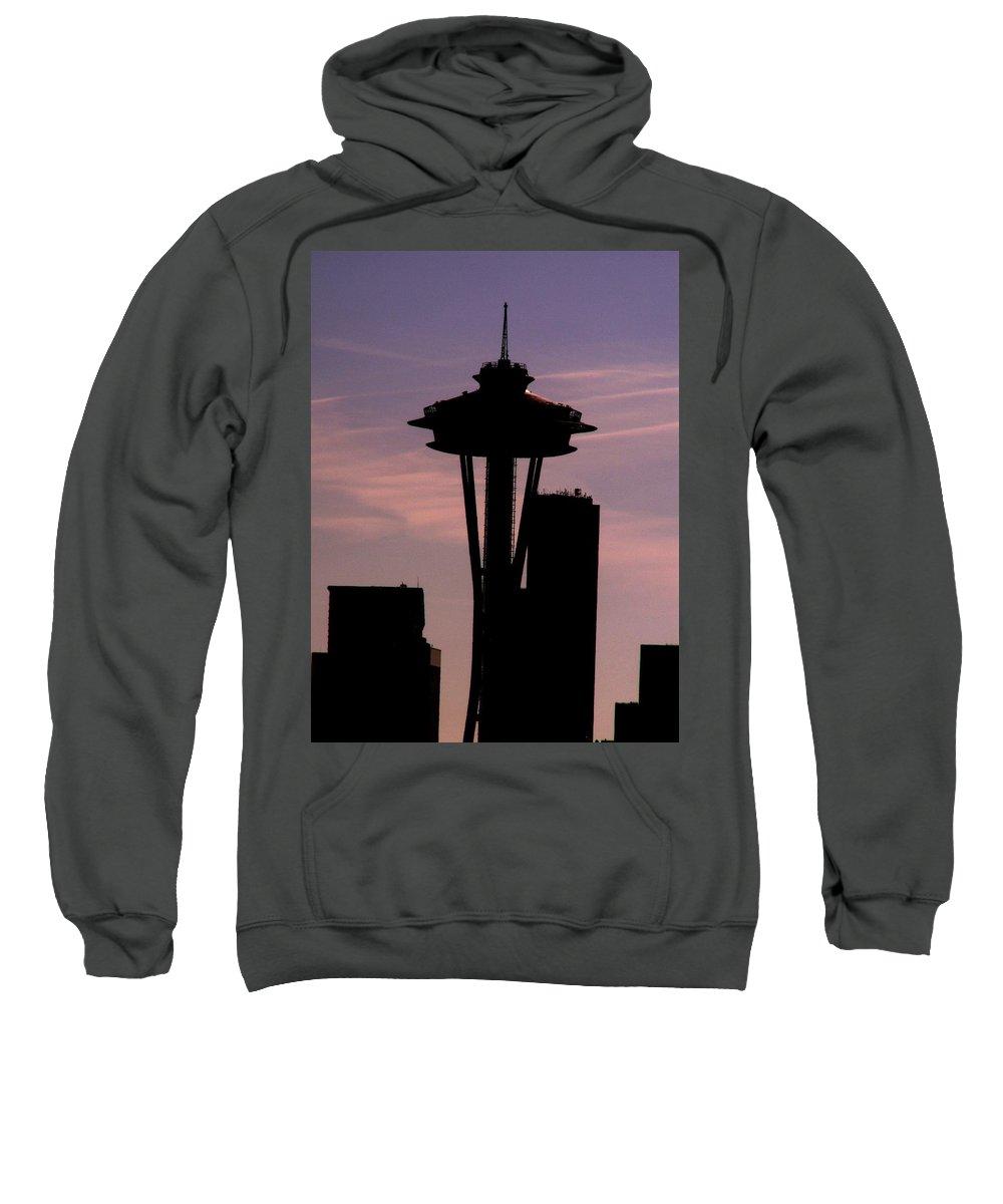 Seattle Sweatshirt featuring the digital art City Needle by Tim Allen