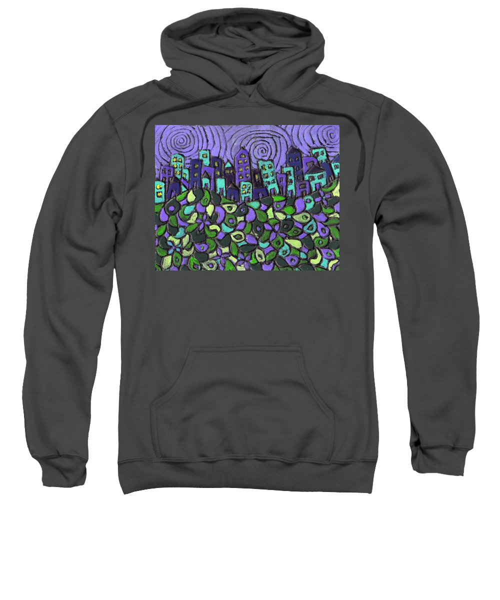 Purple Sweatshirt featuring the painting City Of Passion by Wayne Potrafka