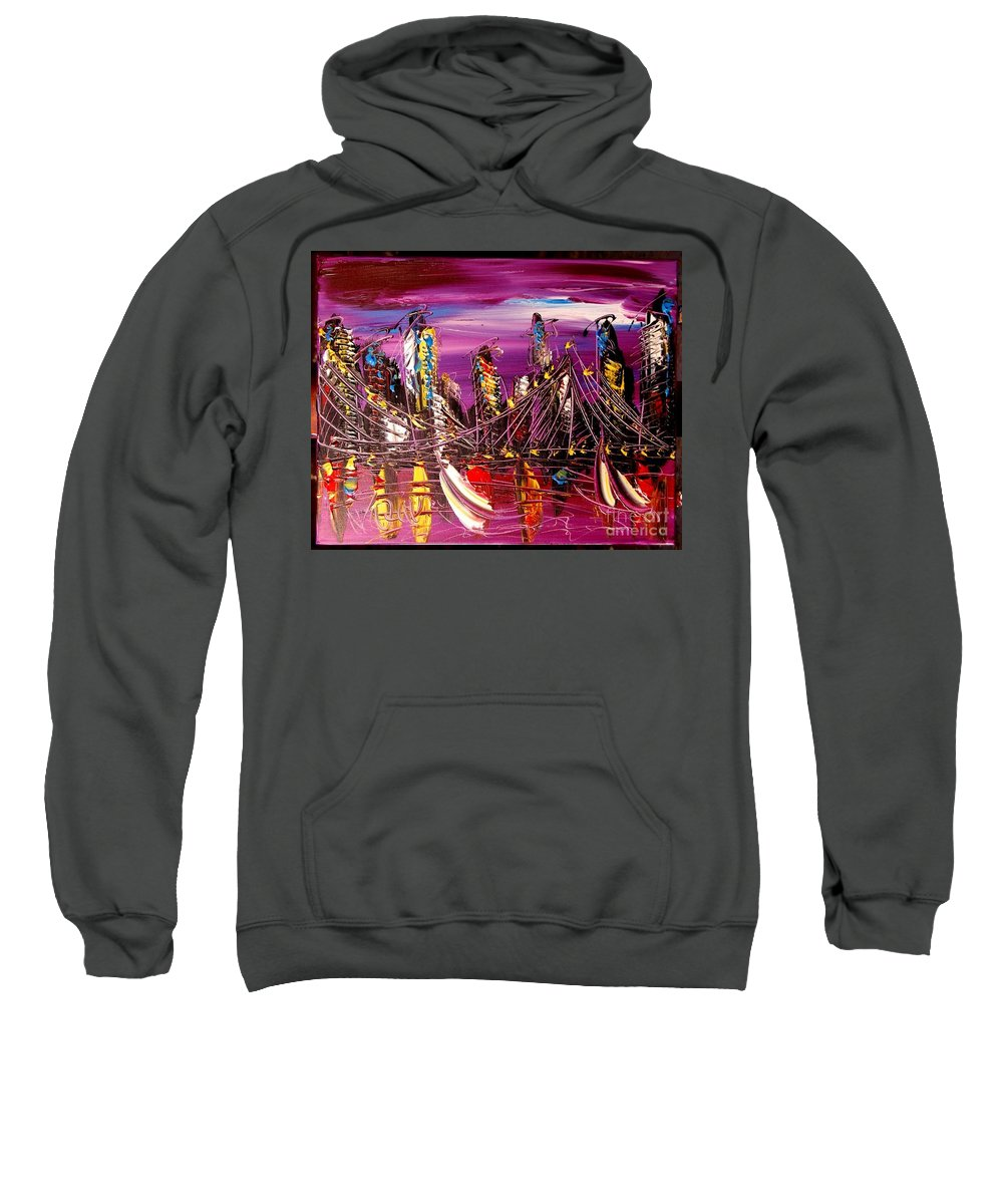 Nyc Sweatshirt featuring the painting City Scape by Mark Kazav