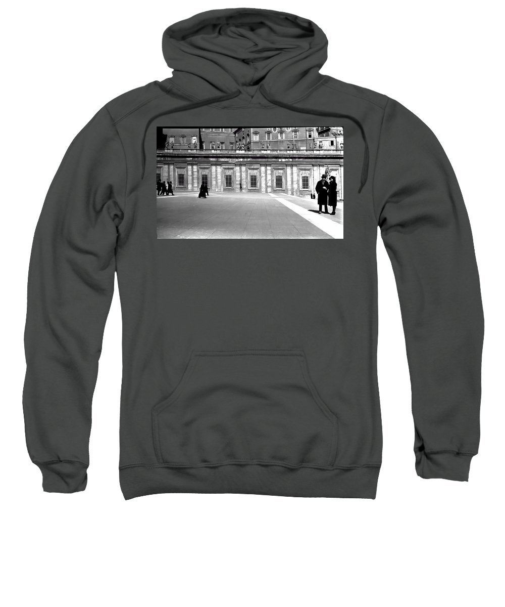 Sweatshirt featuring the photograph City Square Vintage Black And White by Cathy Anderson