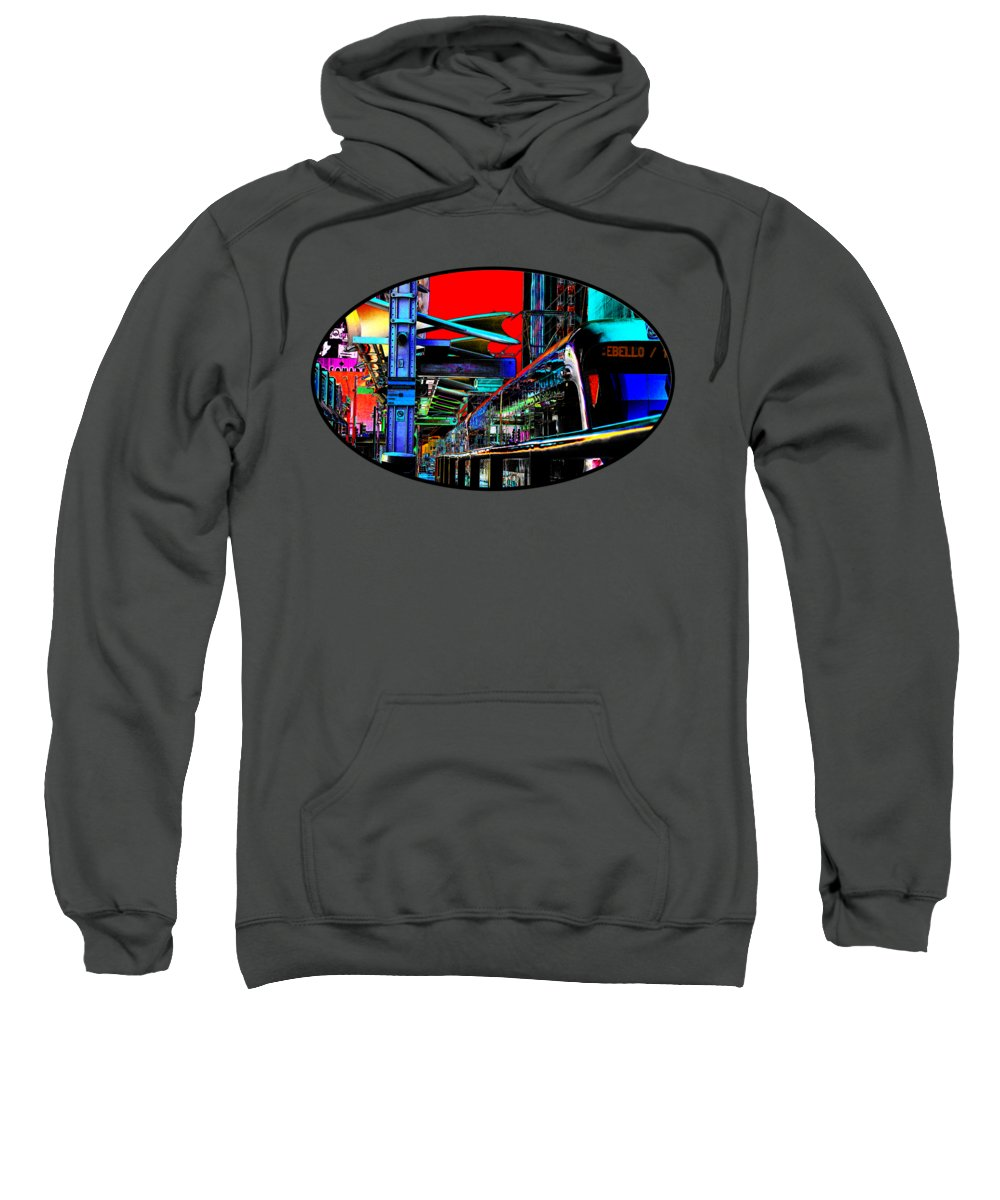 Train Sweatshirt featuring the photograph City Tansit Pop Art by Phyllis Denton