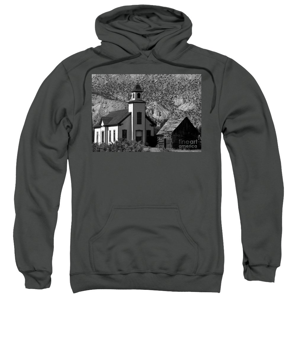 Mormon Sweatshirt featuring the photograph Clapboard Church 1898 by David Lee Thompson