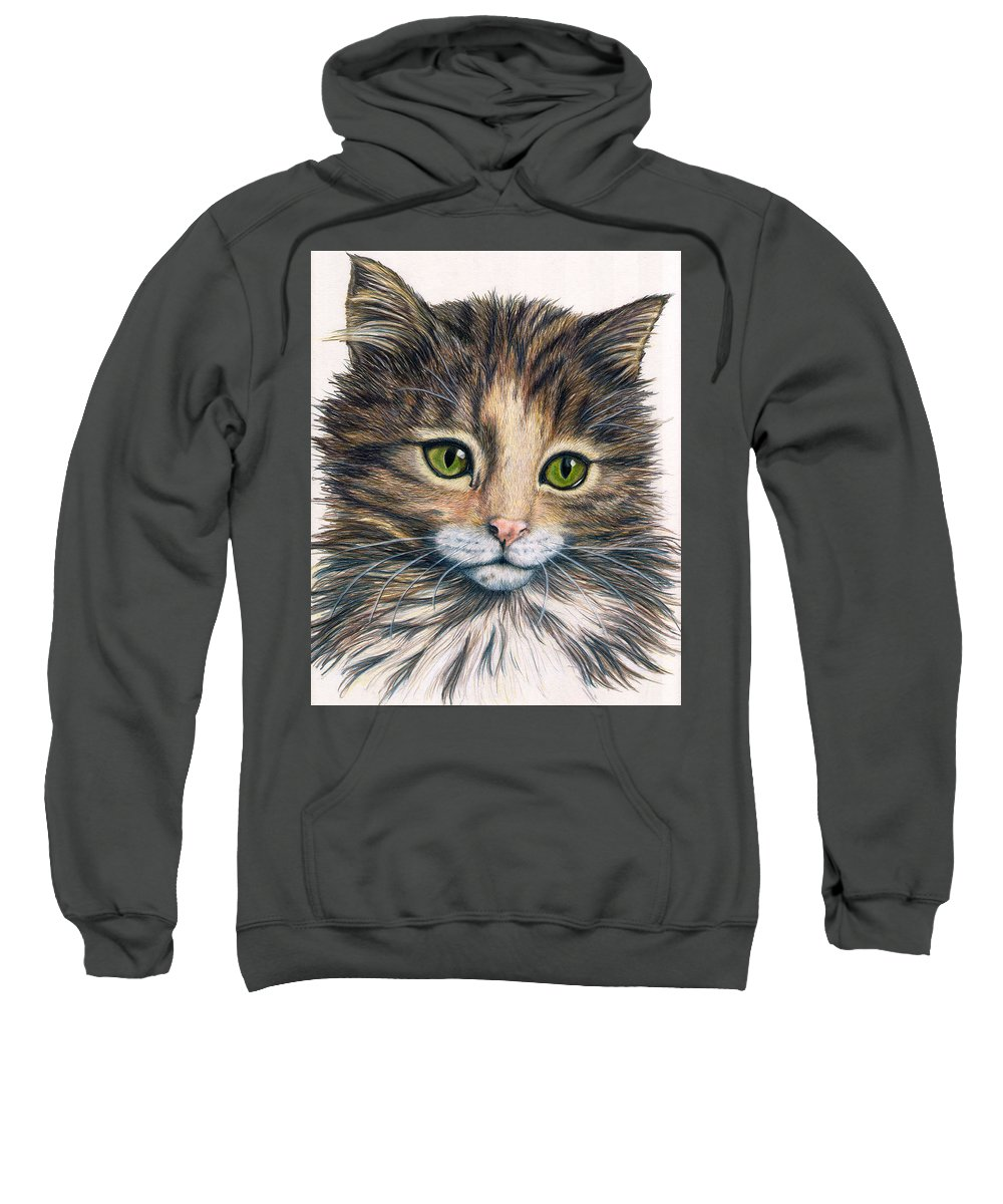 Cat Sweatshirt featuring the drawing Clarice by Kristen Wesch