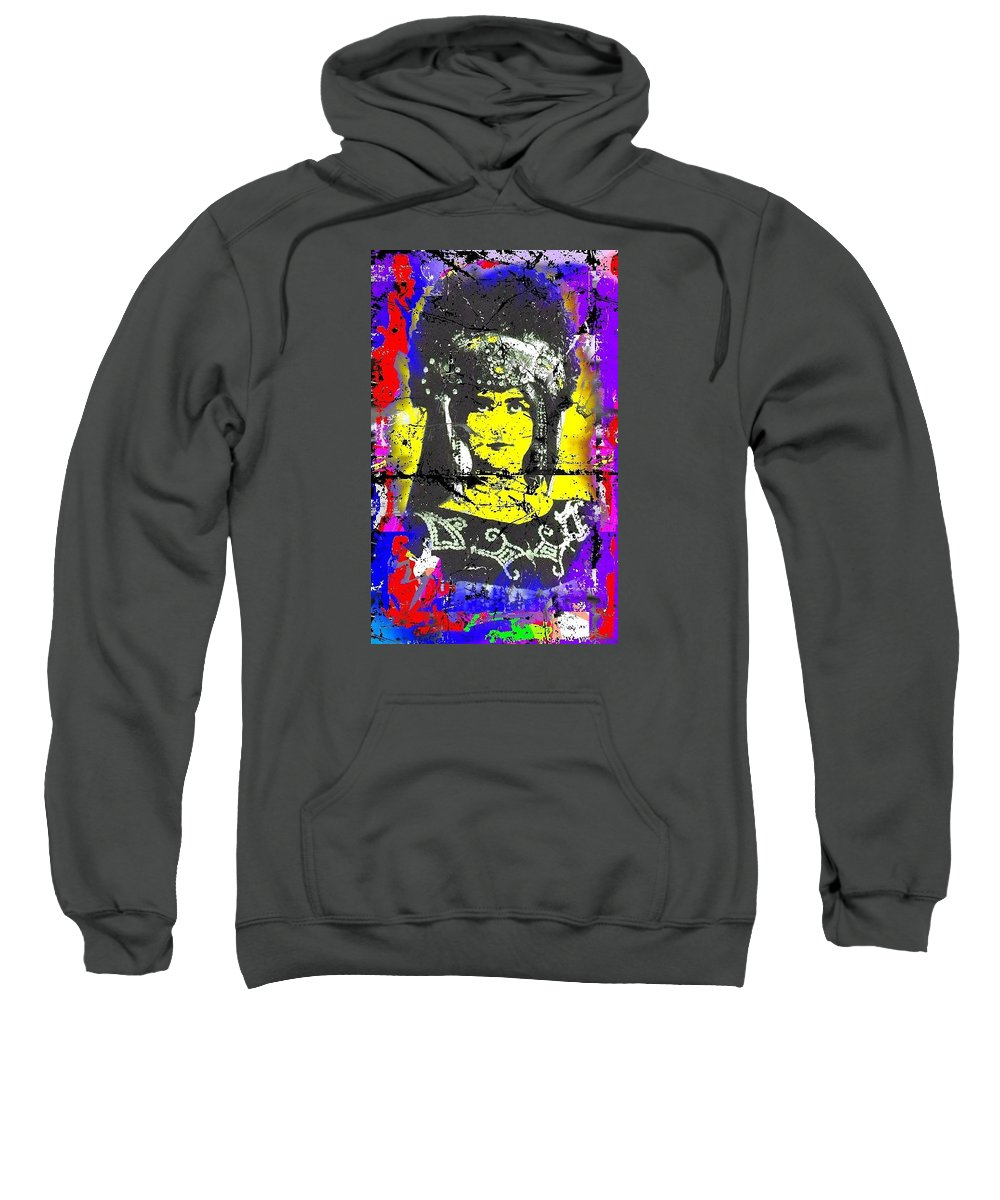 Portrait Sweatshirt featuring the mixed media Cleo by Andrew Yago