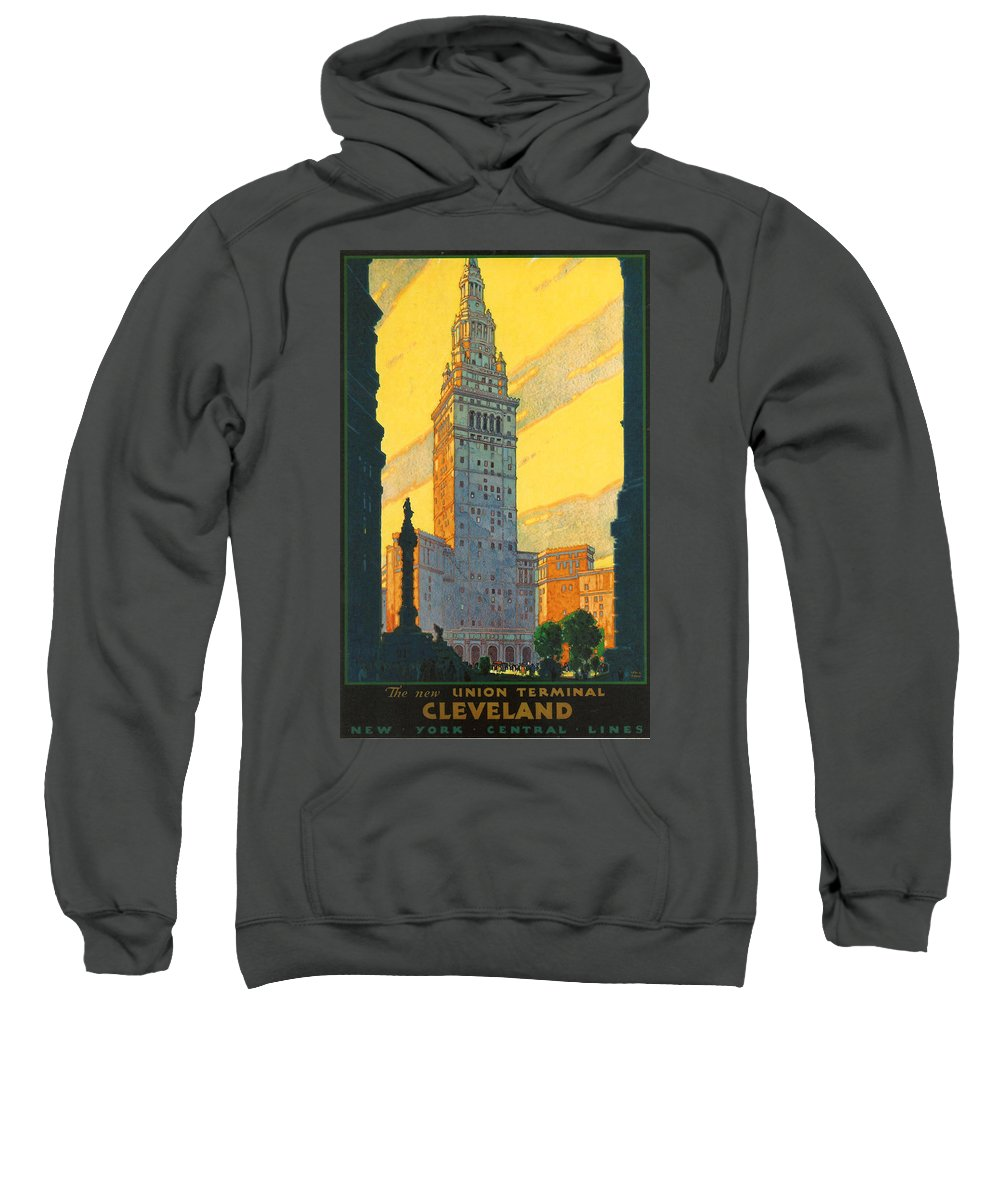Cleveland Sweatshirt featuring the digital art Cleveland - Vintage Travel by Georgia Fowler
