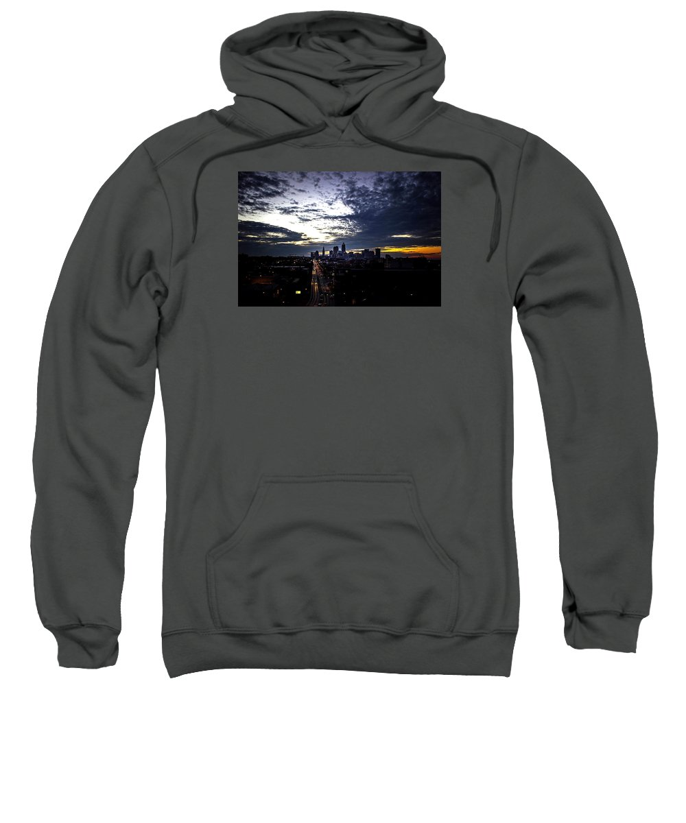 Skyline Sweatshirt featuring the photograph Cleveland At Dusk by Chris Walter