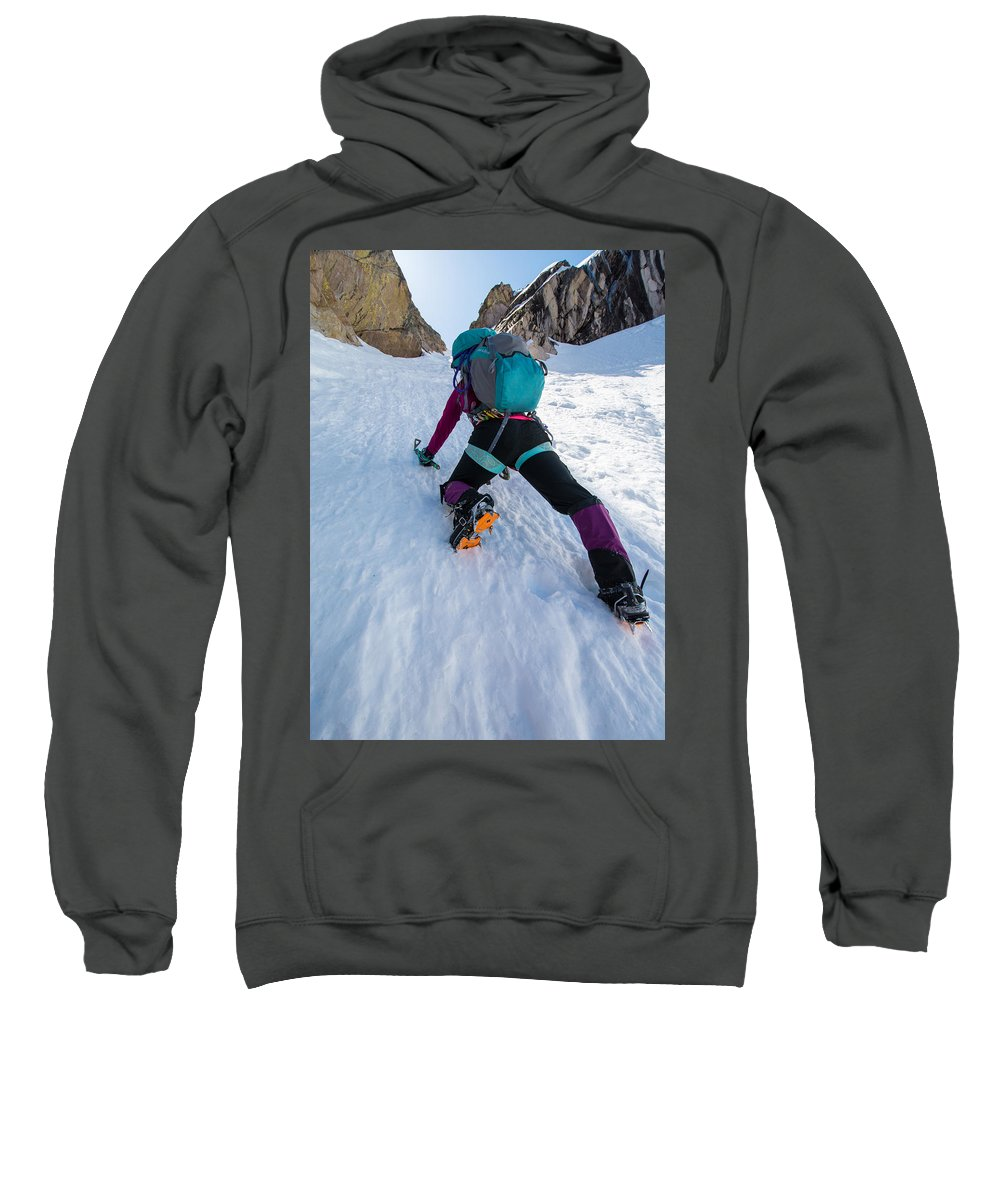 Climbing Sweatshirt featuring the photograph Climbing The North Coulior On Mcgown Peak by Elijah Weber