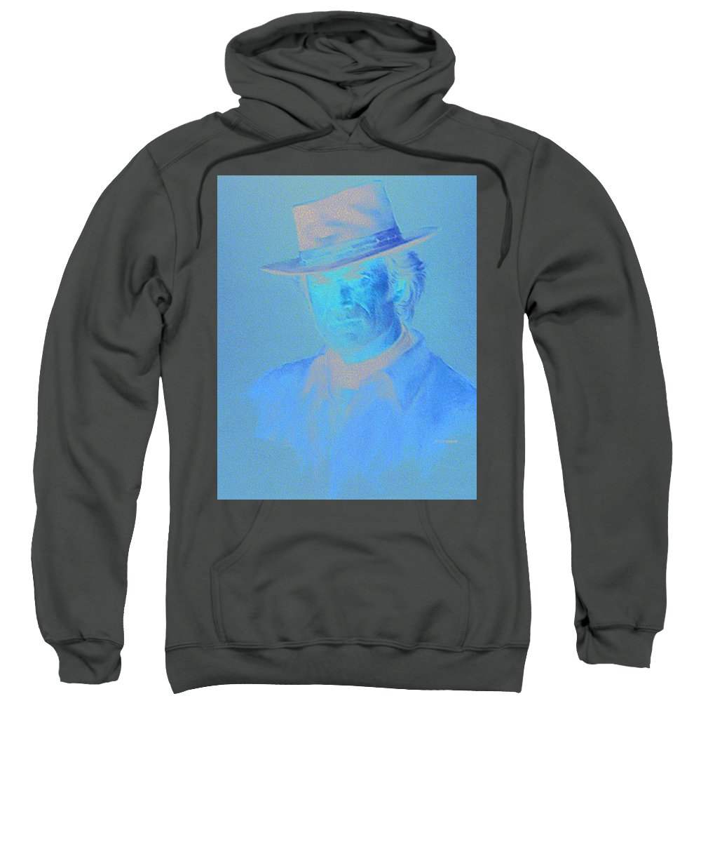 Clint Eastwood Portrait Sweatshirt featuring the pastel Clint Eastwood by Charles Vernon Moran