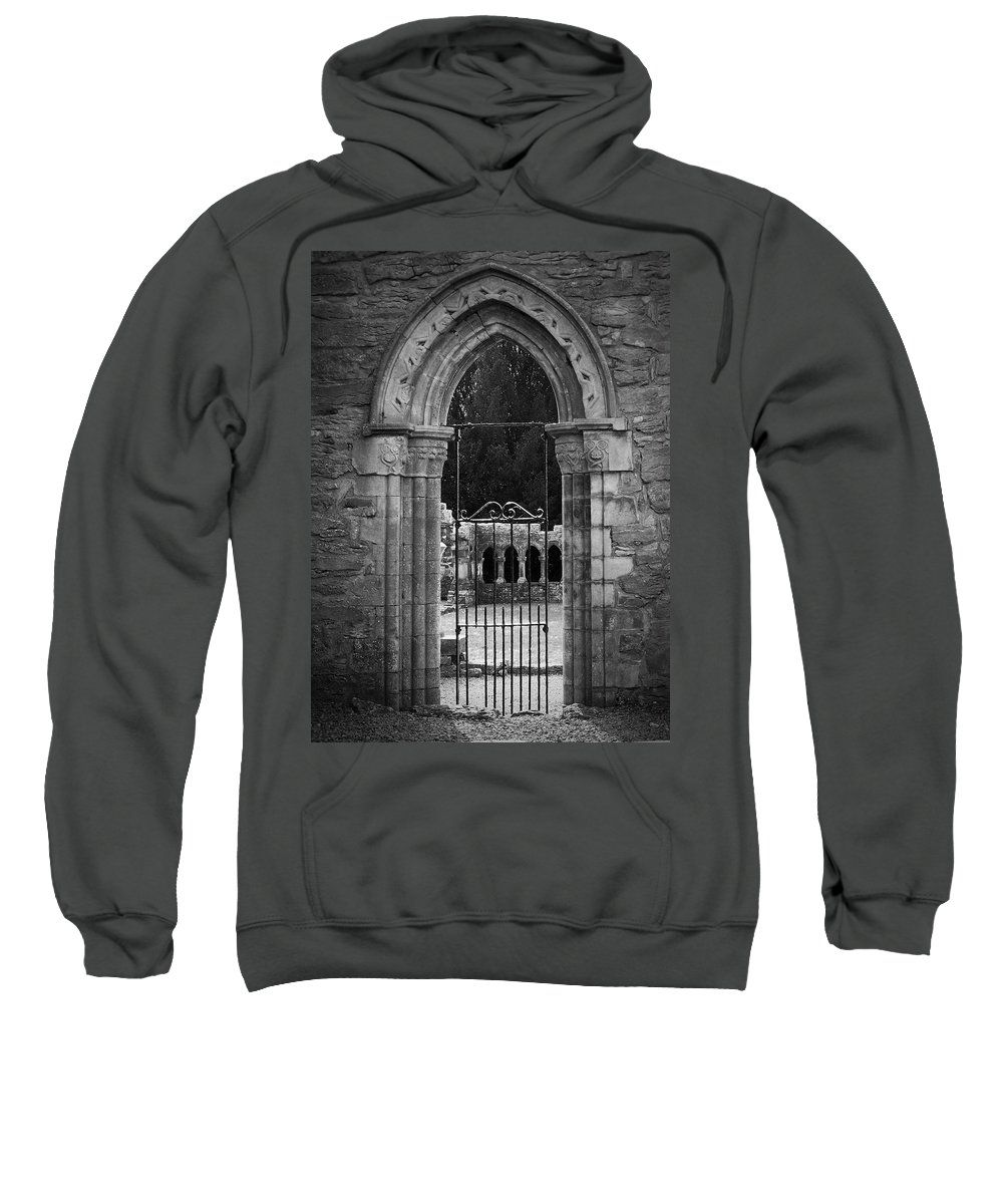 Irish Sweatshirt featuring the photograph Cloister View Cong Abbey Cong Ireland by Teresa Mucha