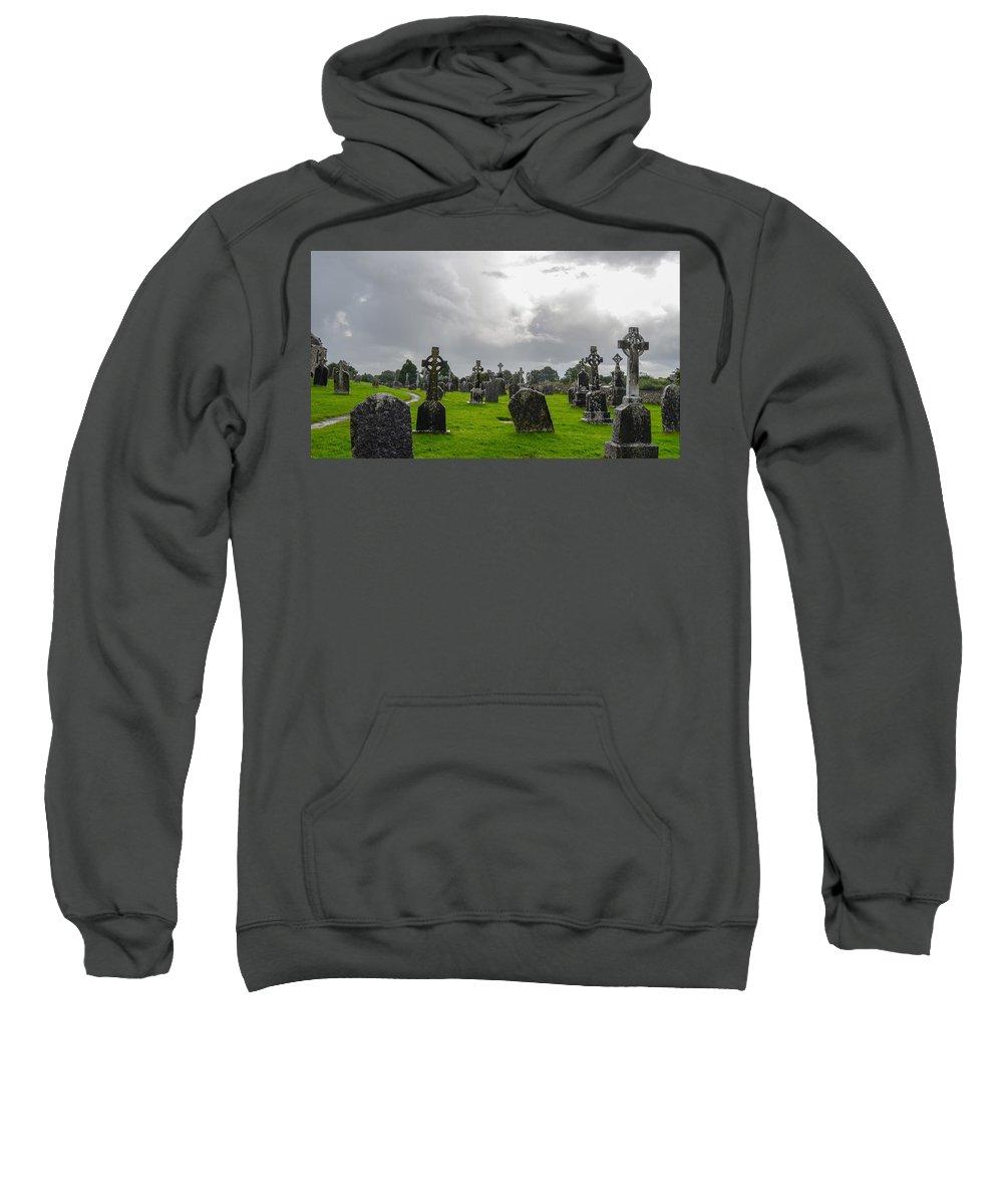 Clonmacnoise Monastery Sweatshirt featuring the digital art Clonmacnoise Monastery by Bert Mailer