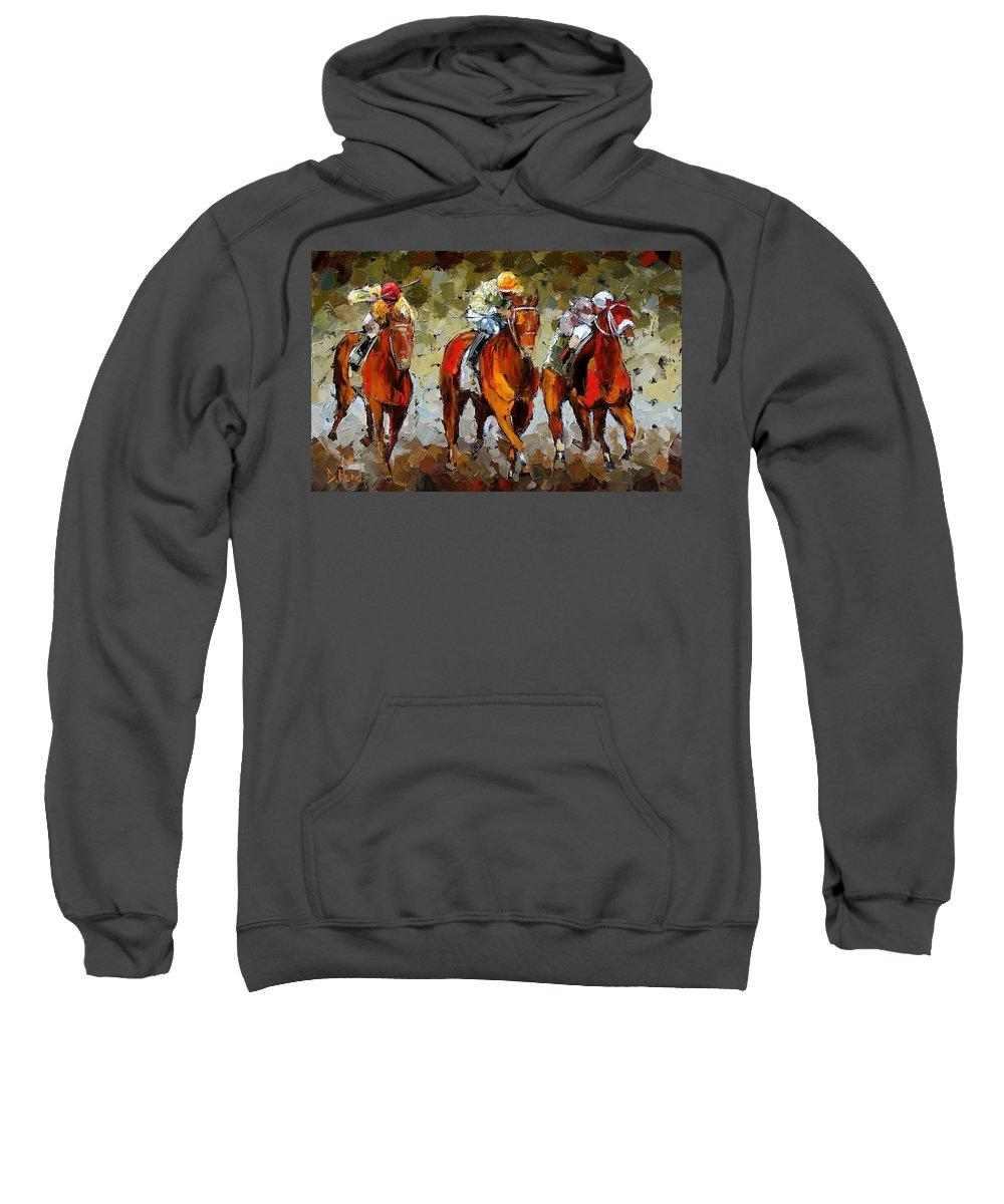 Horses Sweatshirt featuring the painting Close Race by Debra Hurd