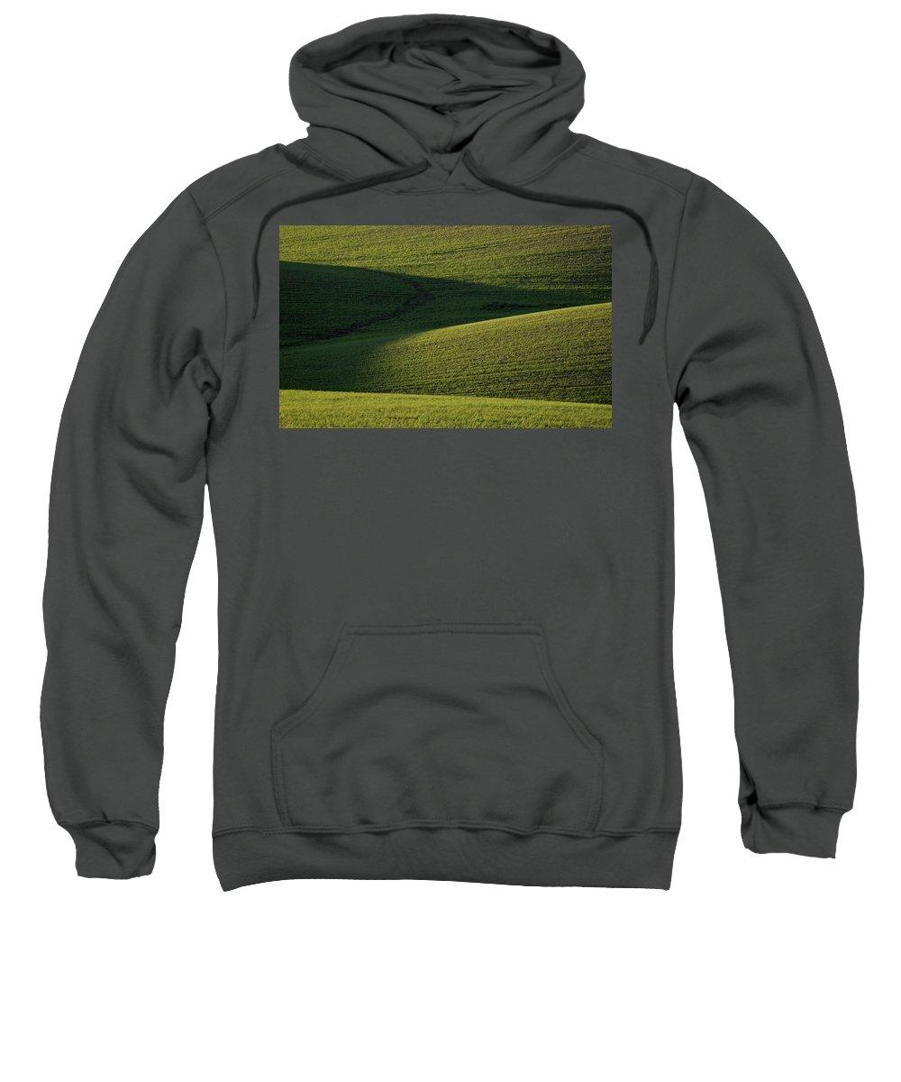 Rolling Sweatshirt featuring the digital art Cloud Shadows On New Growing Crop by Mark Duffy
