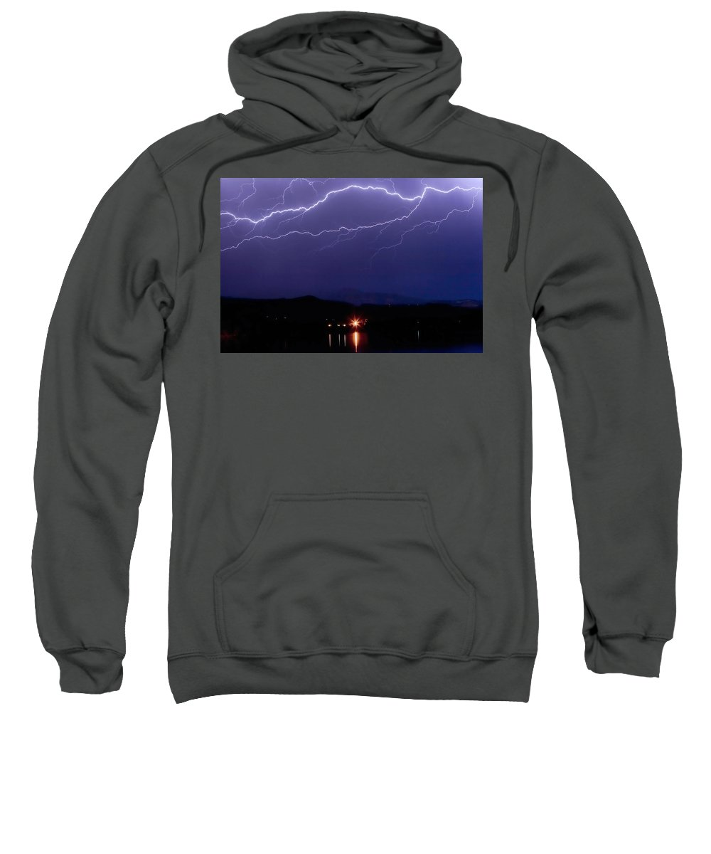 Lightning Sweatshirt featuring the photograph Cloud To Cloud Horizontal Lightning by James BO Insogna