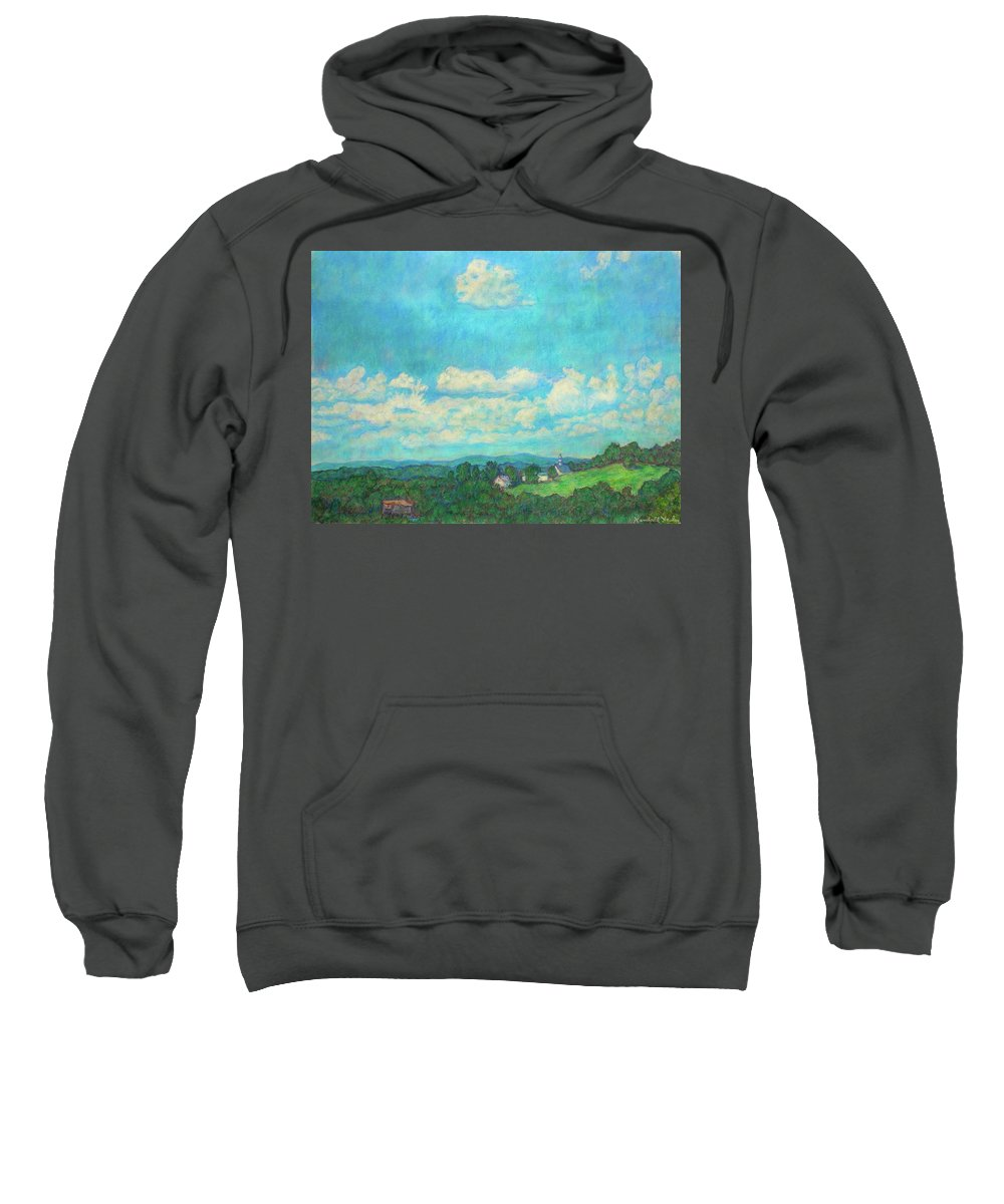 Landscape Sweatshirt featuring the painting Clouds Over Fairlawn by Kendall Kessler