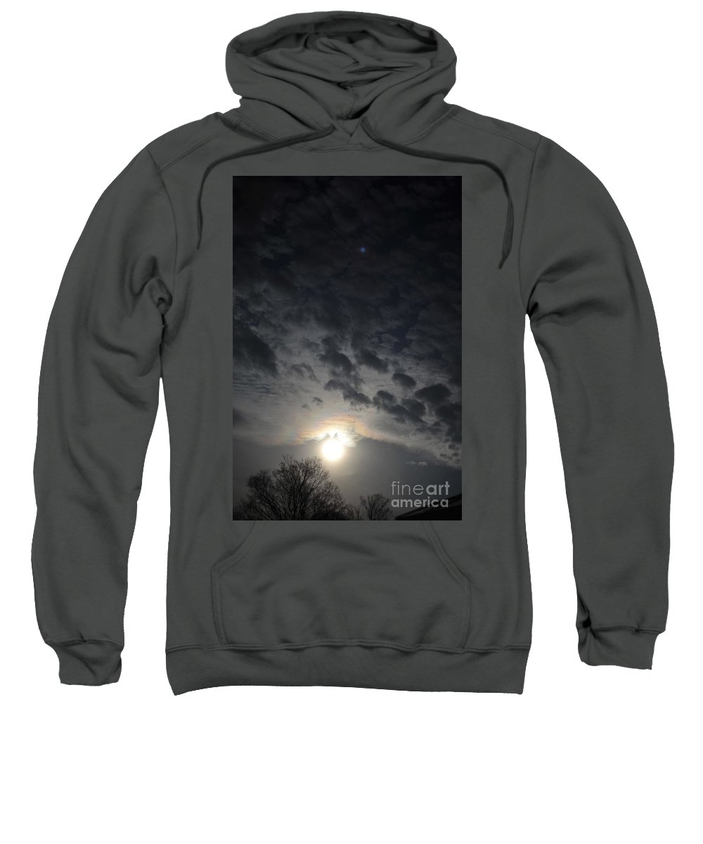 Full Moon Night Sky Sweatshirt featuring the photograph cloudy Full Moon by John Taylor