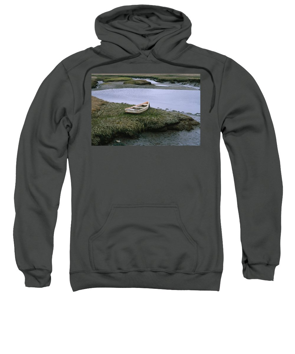 Landscape New England Marsh Row Boat Rye Harbor Sweatshirt featuring the photograph Cnrf0503 by Henry Butz