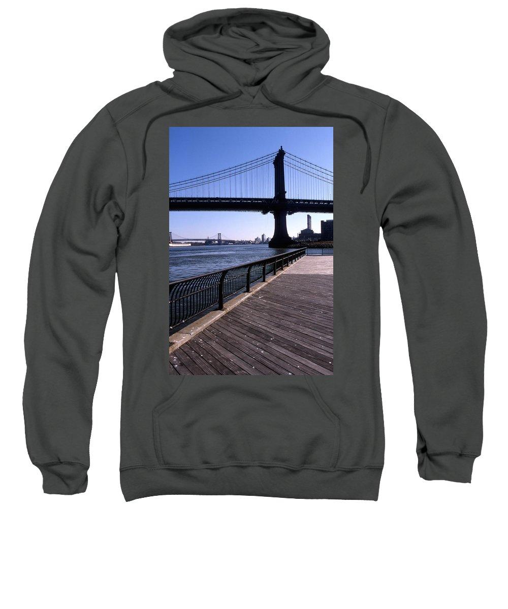 Landscape Manhattan Bridge New York City Sweatshirt featuring the photograph Cnrg0402 by Henry Butz