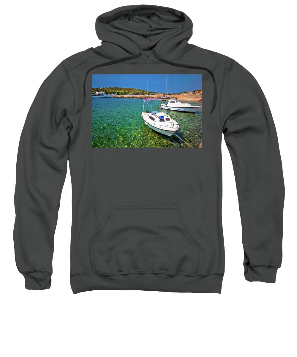 Prvic Sweatshirt featuring the photograph Coast And Beach Of Prvic Island Summer View by Brch Photography