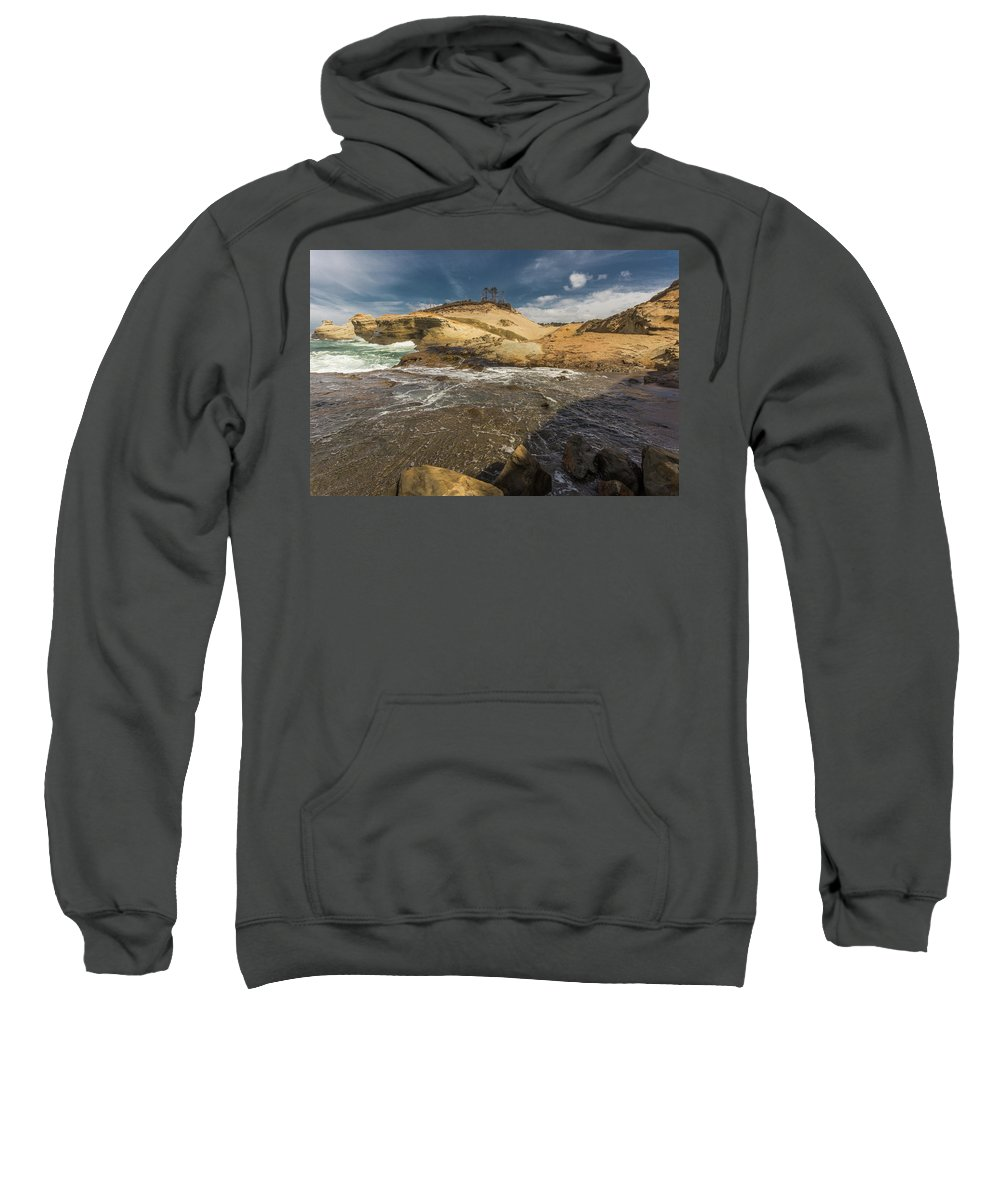 Cliff Sweatshirt featuring the photograph Coastal Beauty by Calazone's Flics