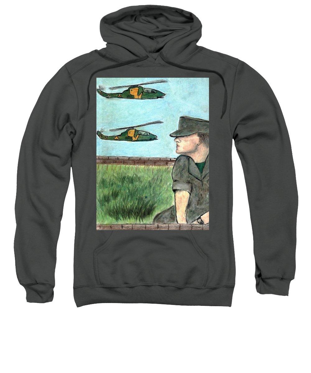 Marine Sweatshirt featuring the drawing Cobra by Melvin Moon